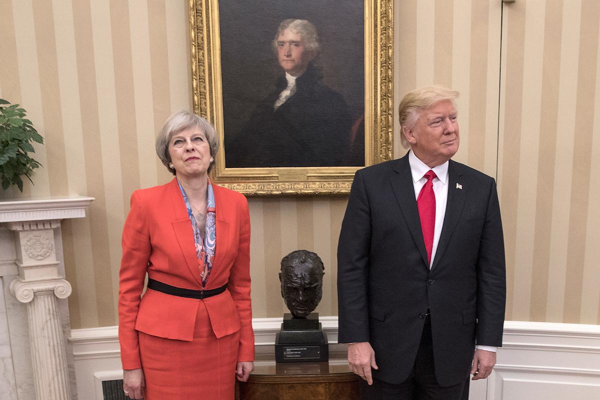 British Prime Minister Theresa May with U.S. President Donald Trump in the Oval Office at the White House on Jan. 27, 2017 in Washington, D.C.