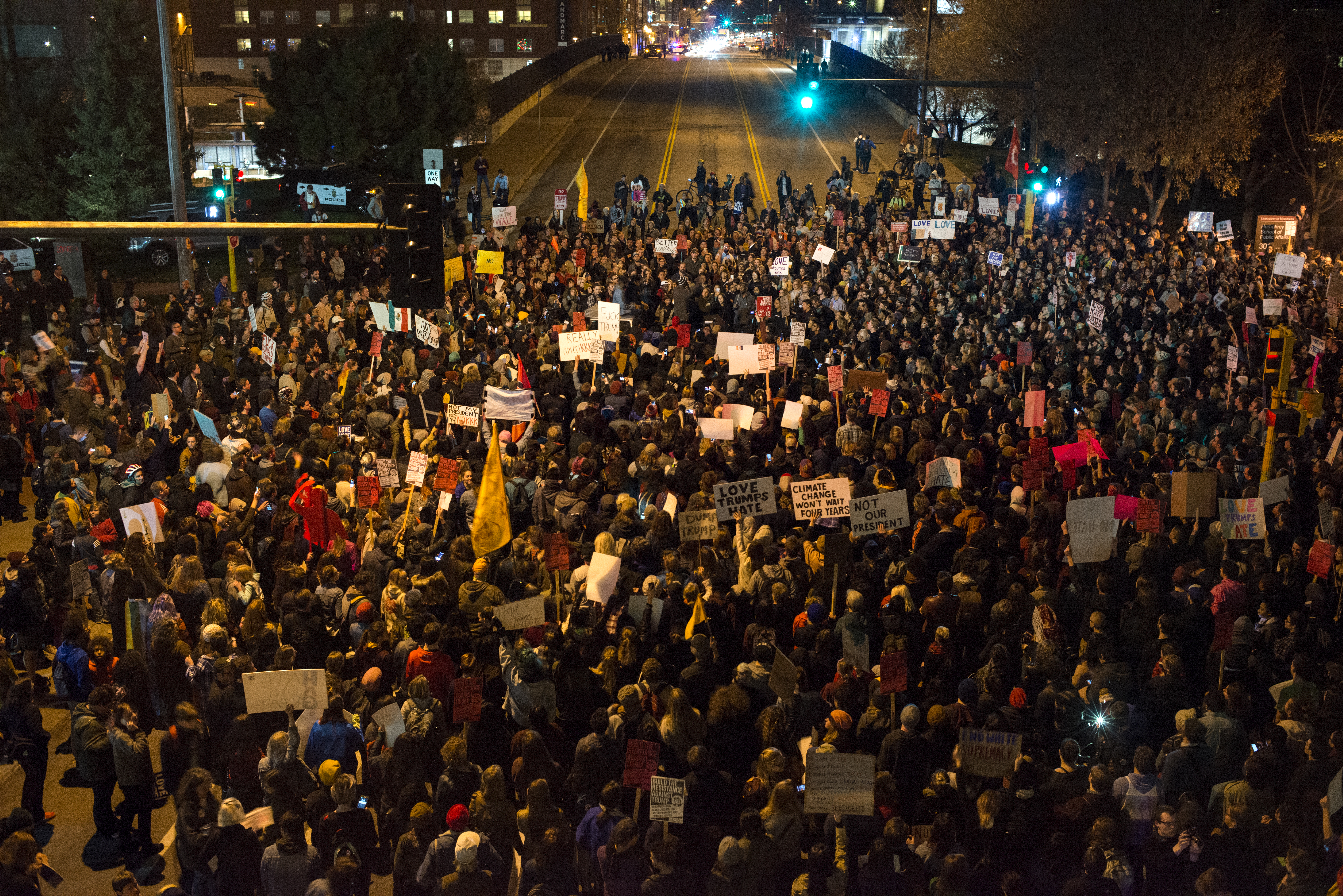 Protesters of President Donald Trump gather in an intersection outside the Humphrey School of Affairs on the campus of the University of Minnesota on Nov. 10, 2016 in Minneapolis, Minnesota.
