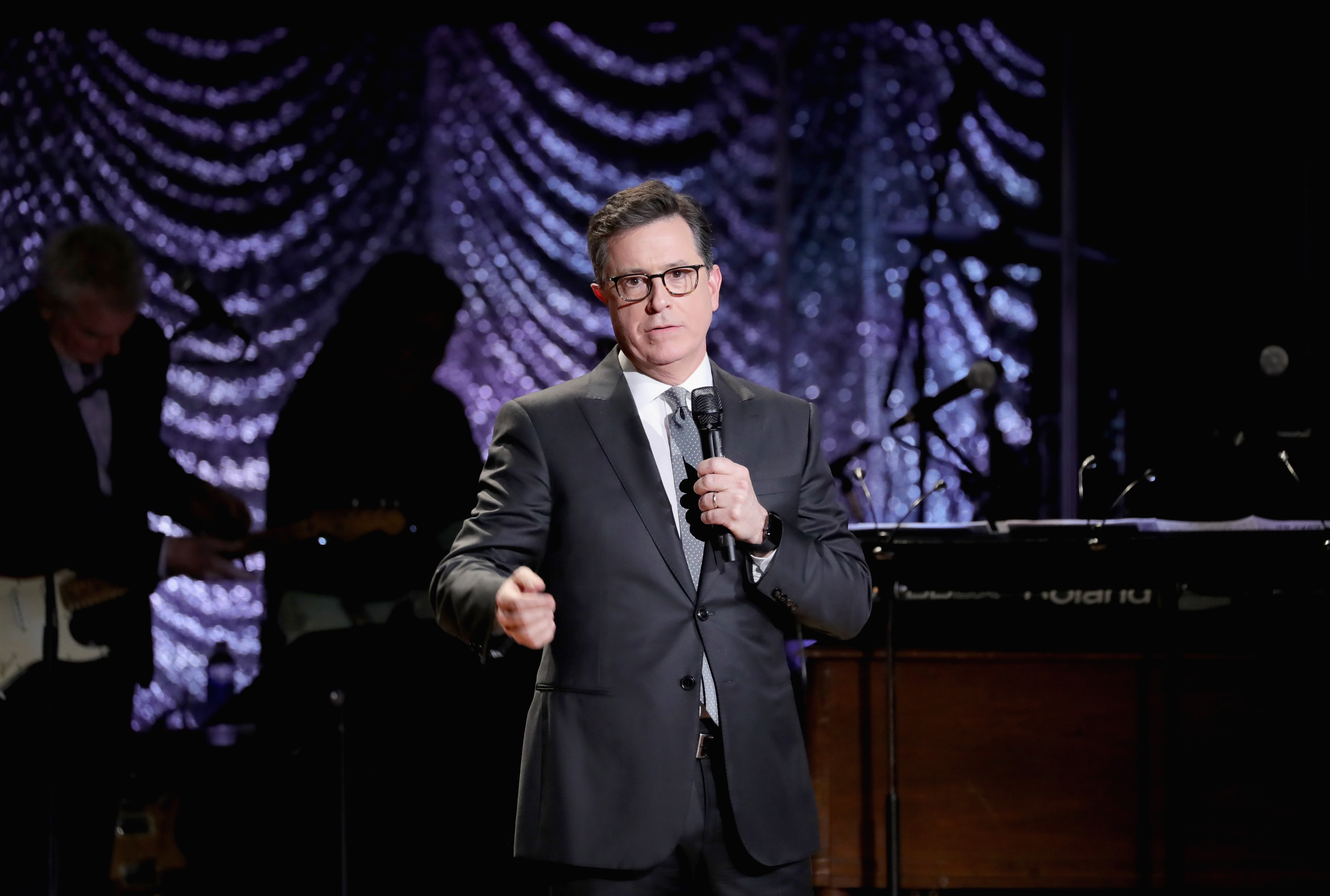 Comedian Stephen Colbert speaks onstage during Lincoln Center's American Songbook Gala at Alice Tully Hall on Feb. 1, 2017 in New York City.