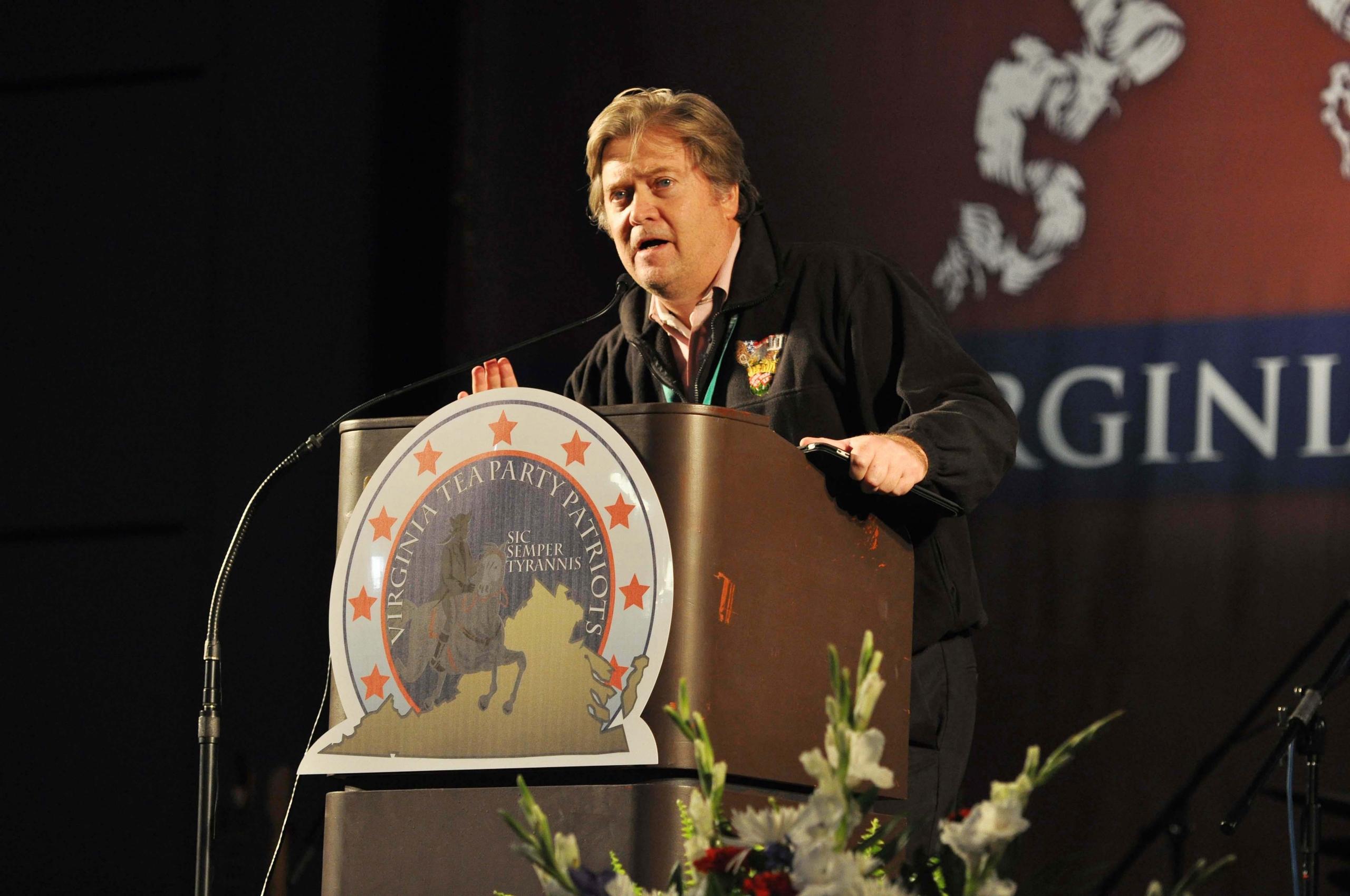 Award winning filmmaker Bannon introduces his Tea Party movie trilogy at the Virginia Tea Party Convention,Richmond, Va., Oct. 8, 2010.