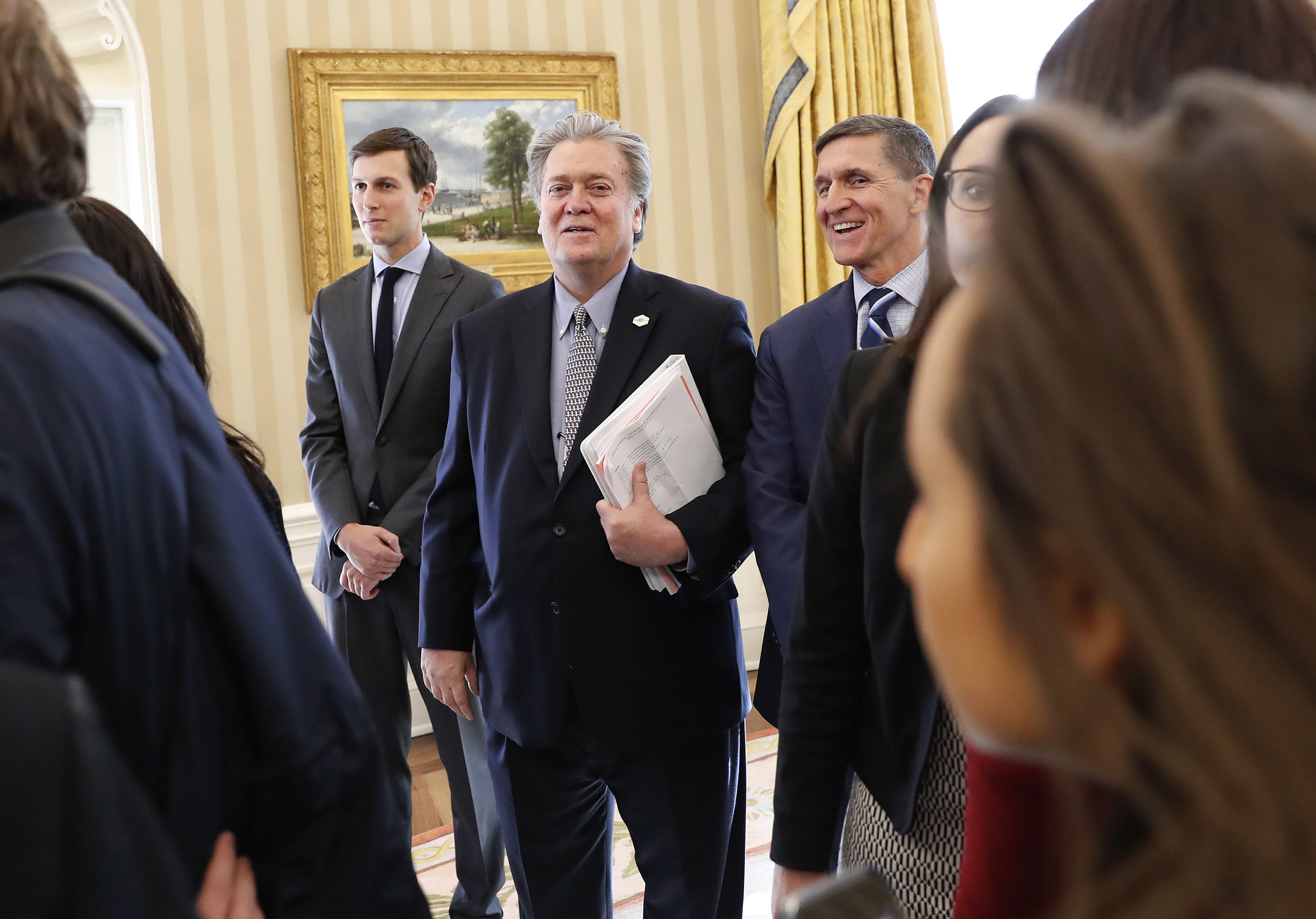 White House senior advisers Jared Kushner, Steve Bannon and national security adviser Michael Flynn  in the Oval Office, during a meeting between President  Trump and British Prime Minister Theresa May, Jan. 27, 2017.