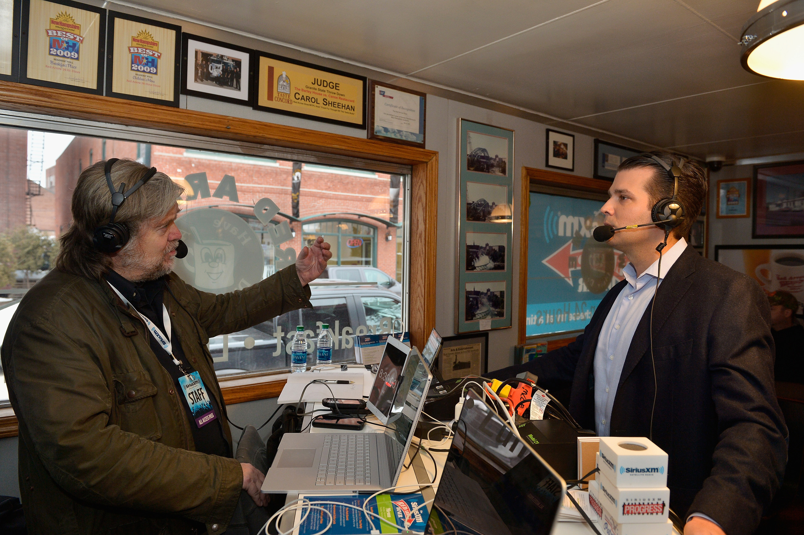 Breitbart News Daily's Steve Bannon interviews Donald Trump, Jr. for SiriusXM Broadcasts' New Hampshire Primary Coverage, live from the iconic Red Arrow Diner in Manchester, N.H., Feb. 8, 2016.