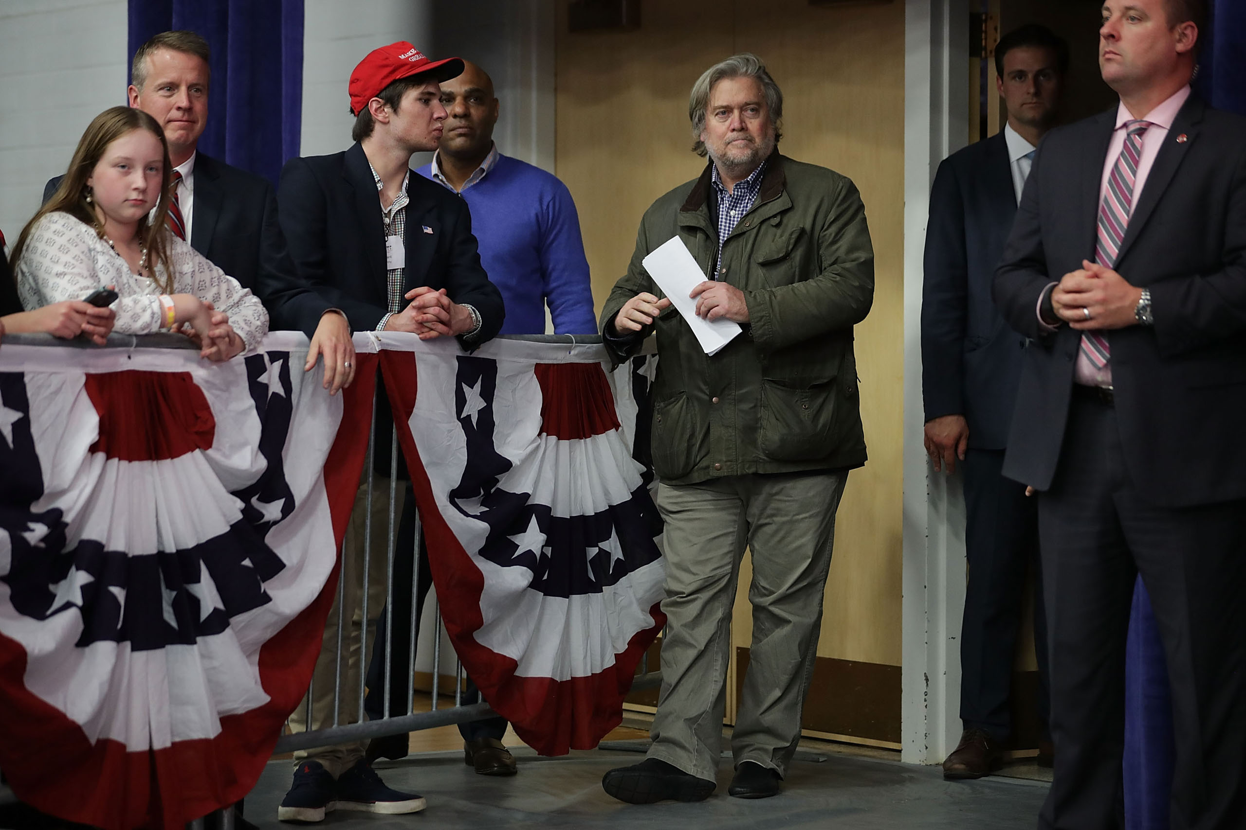 Republican presidential nominee Donald Trump's campaign CEO Steve Bannon attends a campaign rally in Eau Claire, Wis., Nov. 1, 2016.