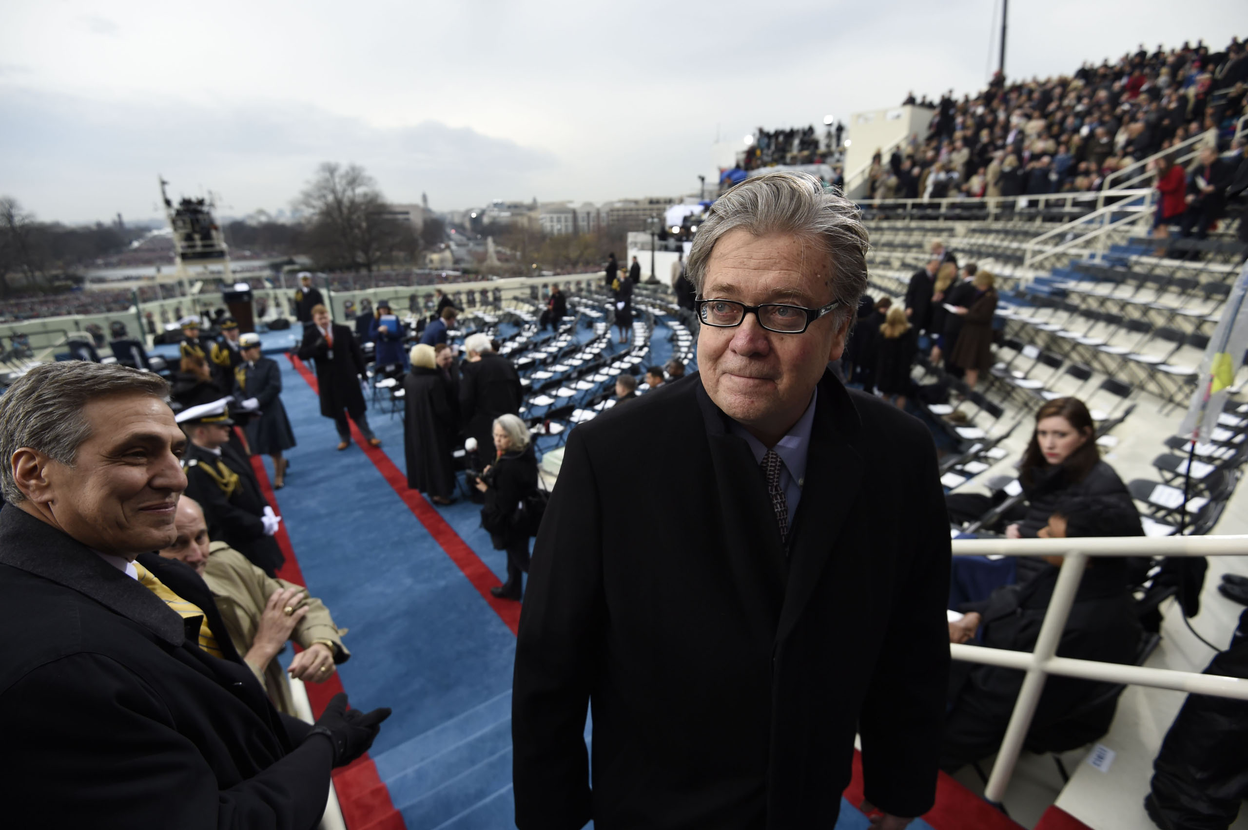 Steve Bannon, appointed chief strategist and senior counselor to President-elect Donald Trump, arrives for the Presidential Inauguration  at the U.S. Capitol in Washington, D.C., Jan 20, 2017.