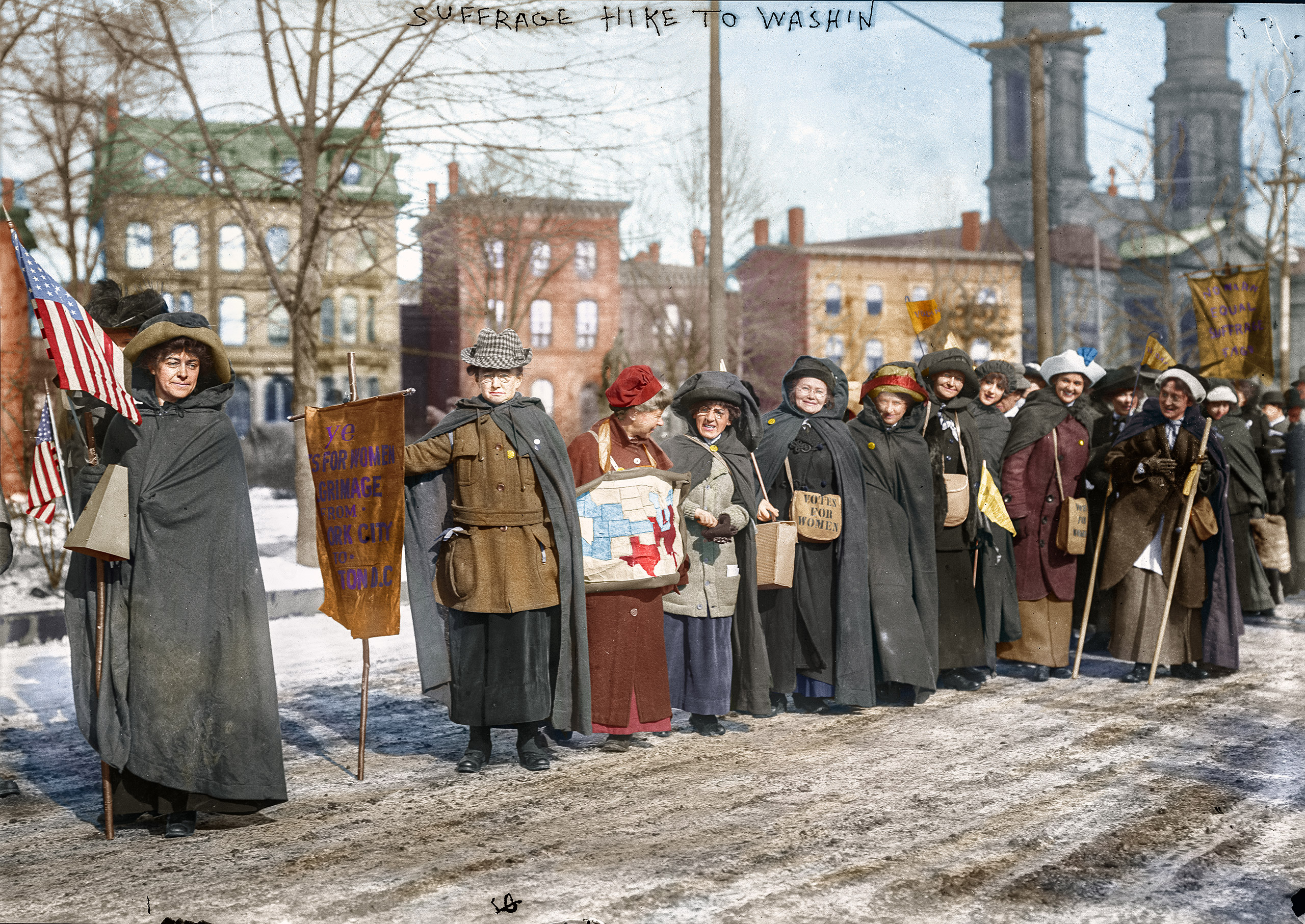 Suffrage hikers who took part in the suffrage hike from New York City to Washington, D.C. which joined the Mar. 3, 1913 National American Woman Suffrage Association parade.