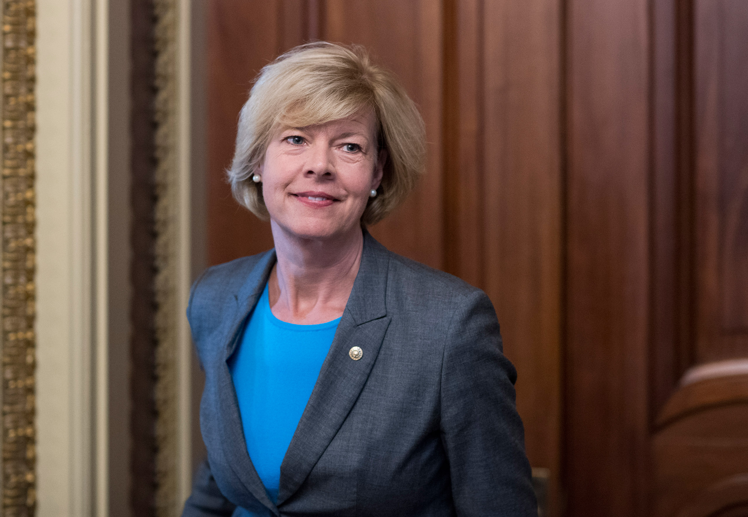 Sen. Tammy Baldwin, D-Wisc., leaves the Senate Democrats' weekly policy lunch in the Capitol on Sept. 7, 2016.