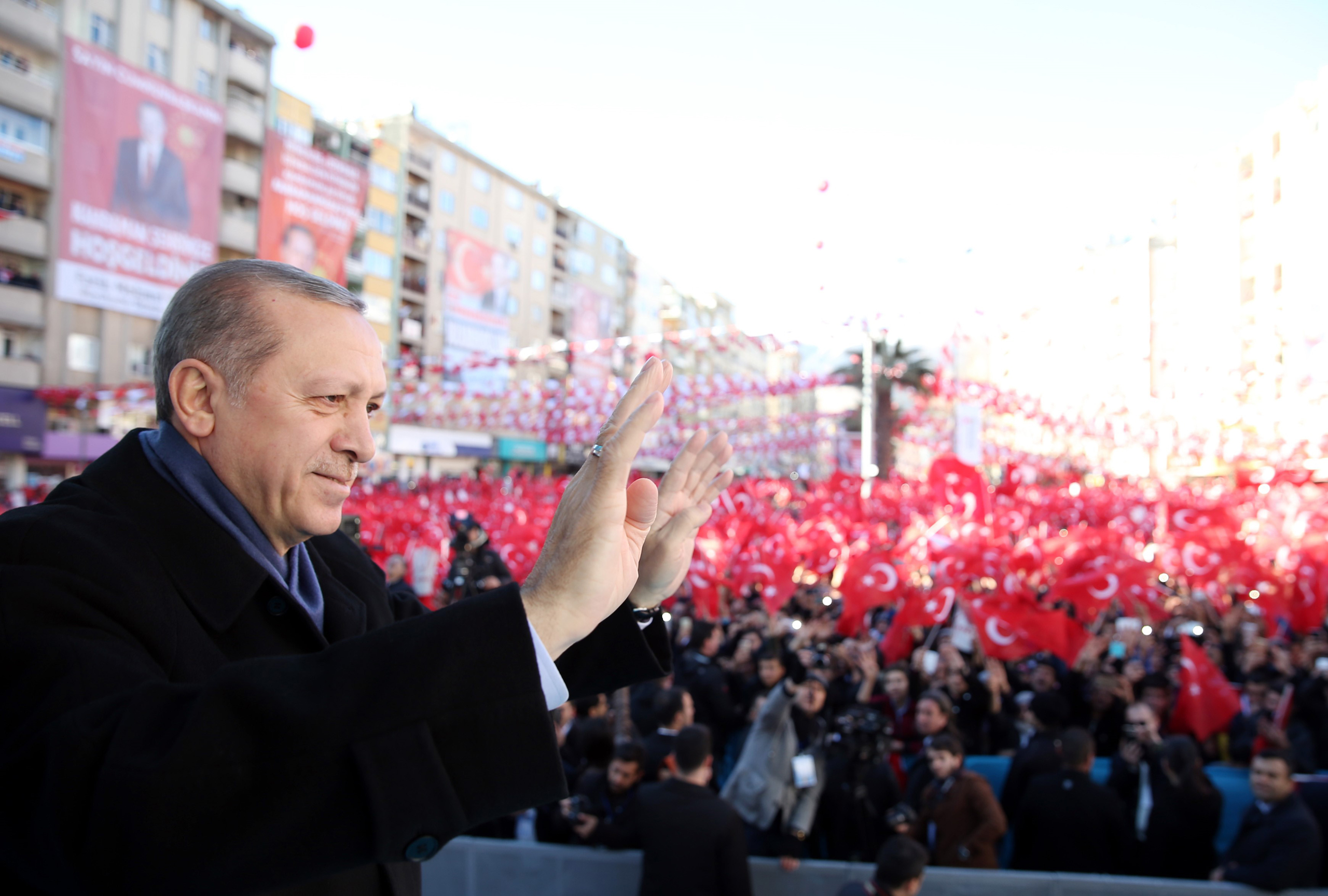 Turkish President Recep Tayyip Erdogan during an opening ceremony at Muftuluk Square in Kahramanmaras, Turkey, on Feb. 17, 2017.
