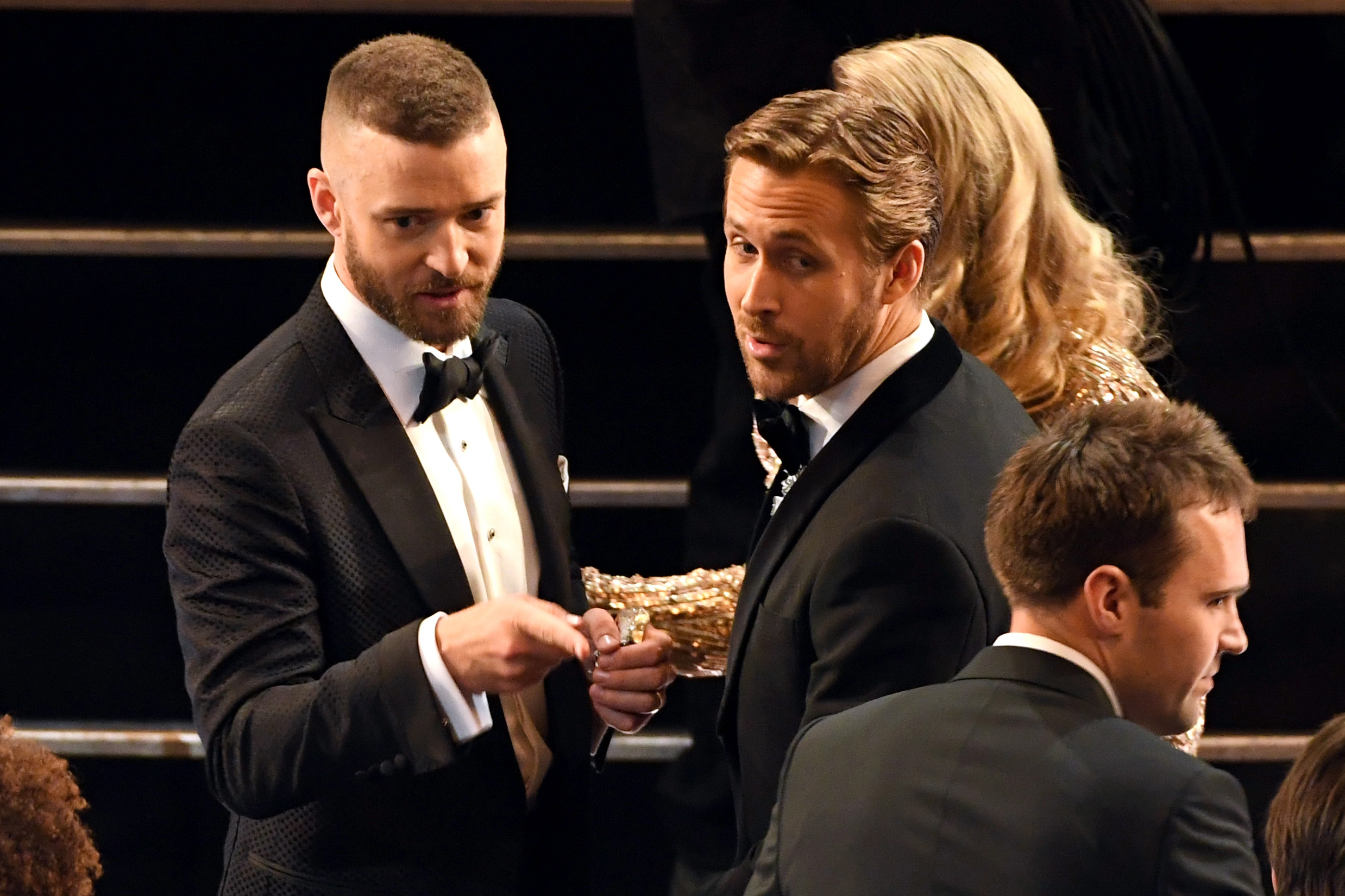 Justin Timberlake and Ryan Gosling during the 89th Annual Academy Awards, on Feb. 26, 2017 in Hollywood, Calif.