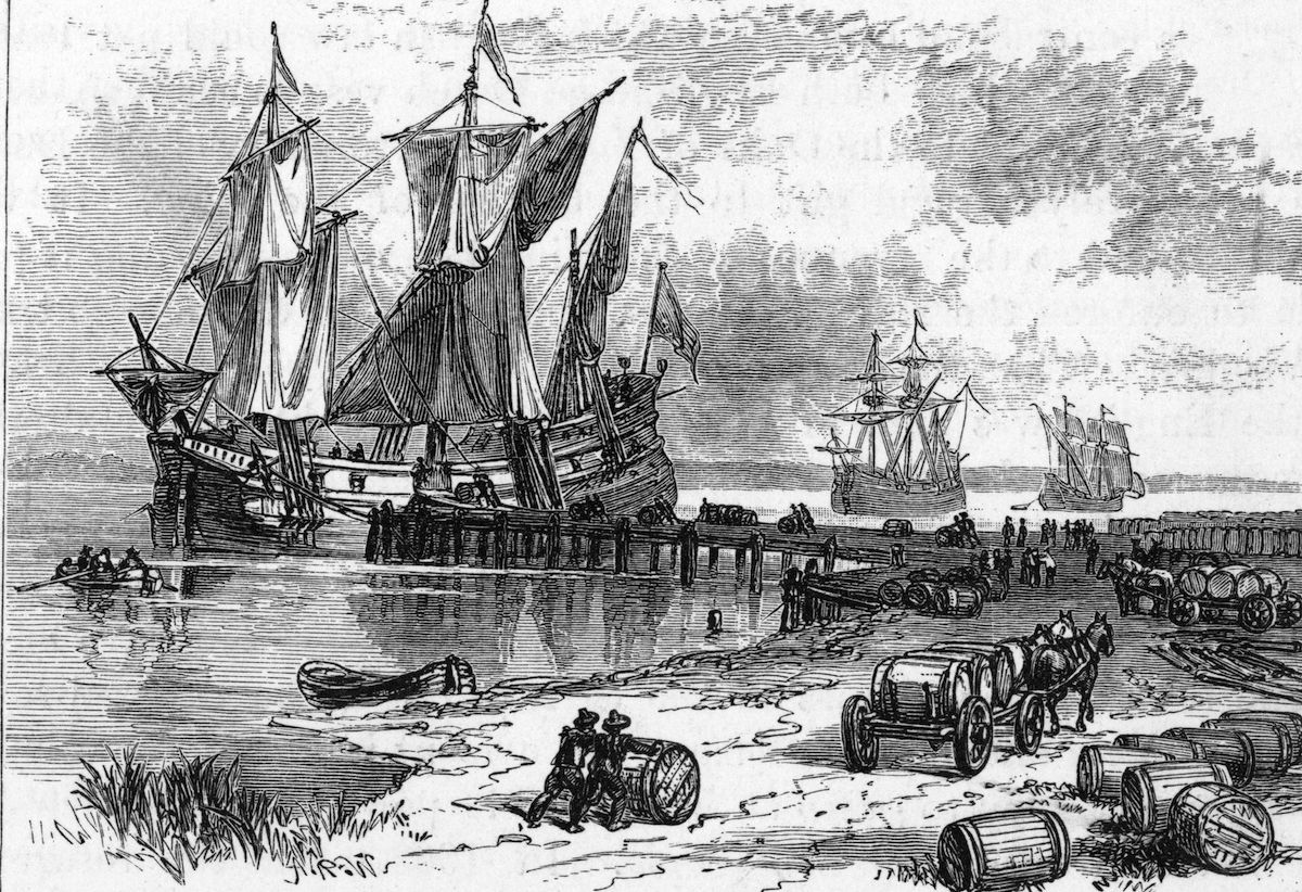 Tobacco being loaded onto ships in the James River, Virginia, circa 1661.