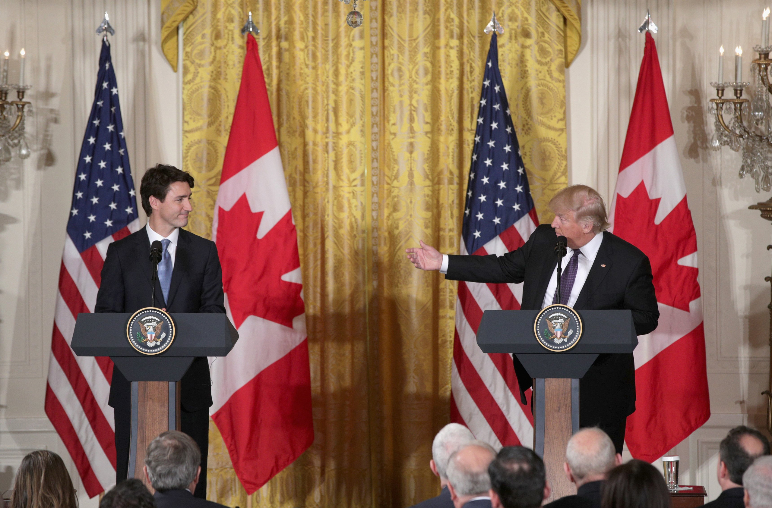 President Donald Trump and Canadian Prime Minister Justin Trudeau participate in a joint news conference in the East Room of the White House in Washington on Feb. 13, 2017.