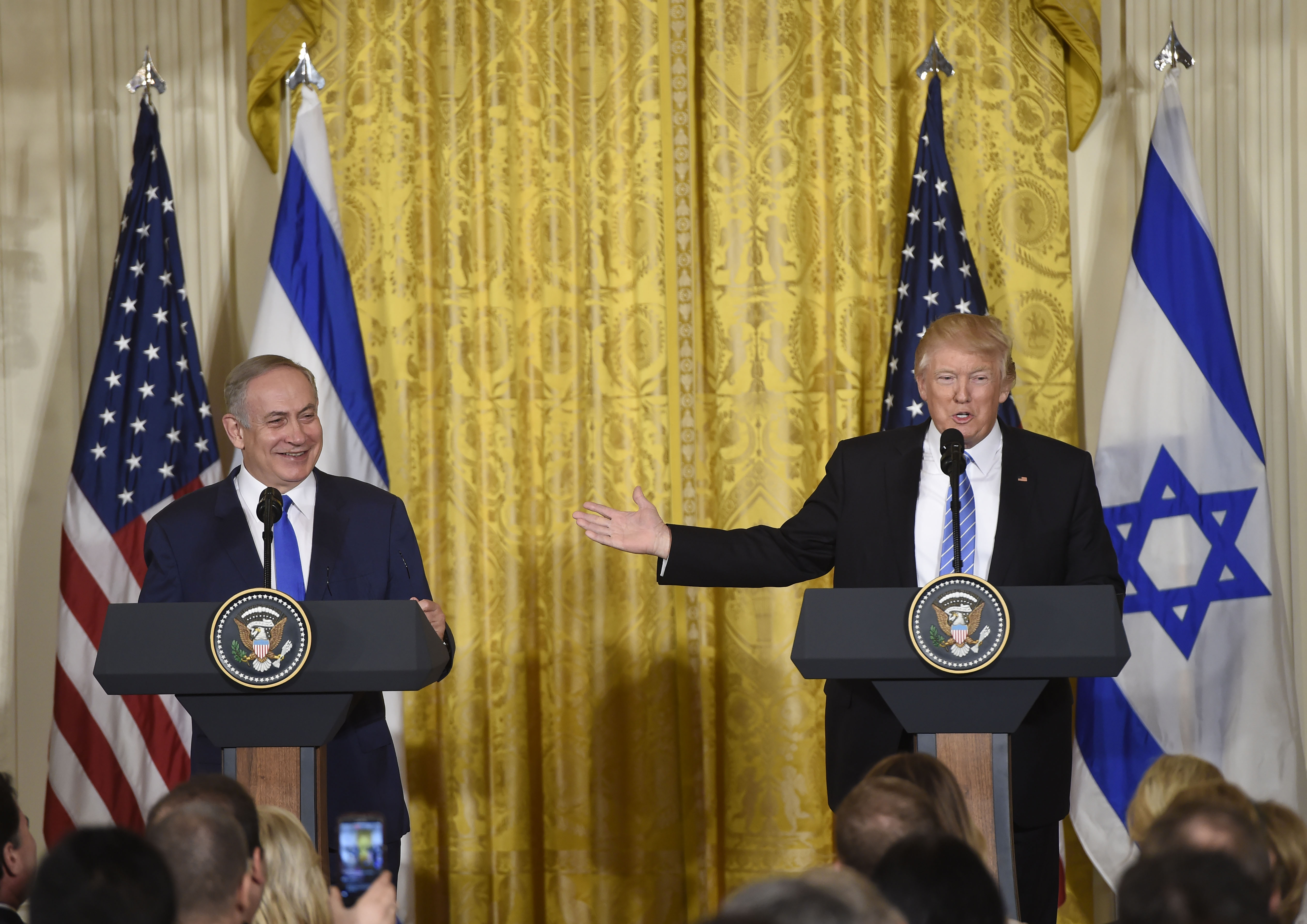 President Donald Trump and Israeli Prime Minister Benjamin Netanyahu hold a joint press conference in the East Room of the White House in Washington, D.C., on Feb. 15, 2017.
