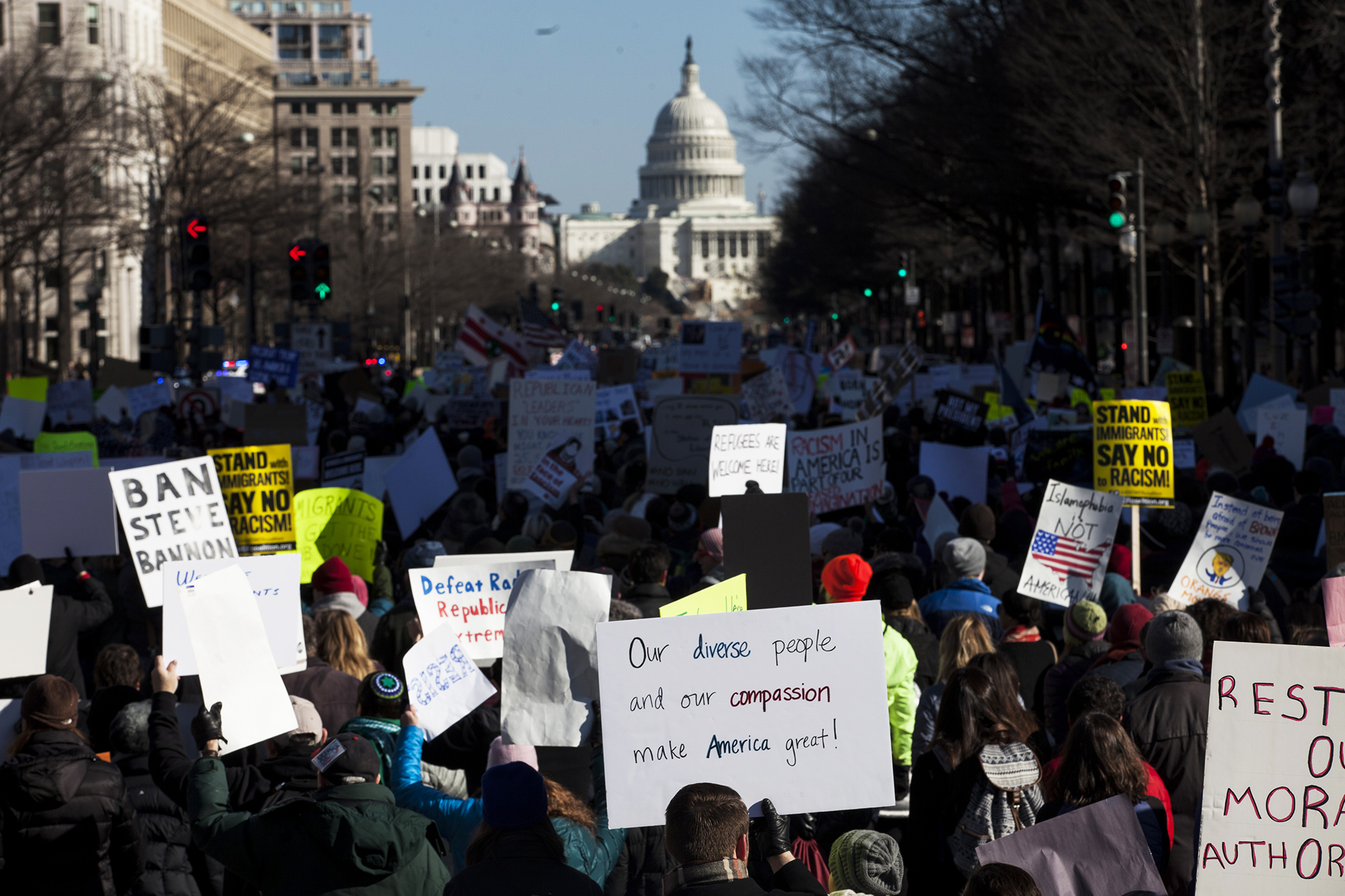 Demonstrators march from the White House to the Capitol Building, on Feb. 4, 2017 in Washington, D.C.