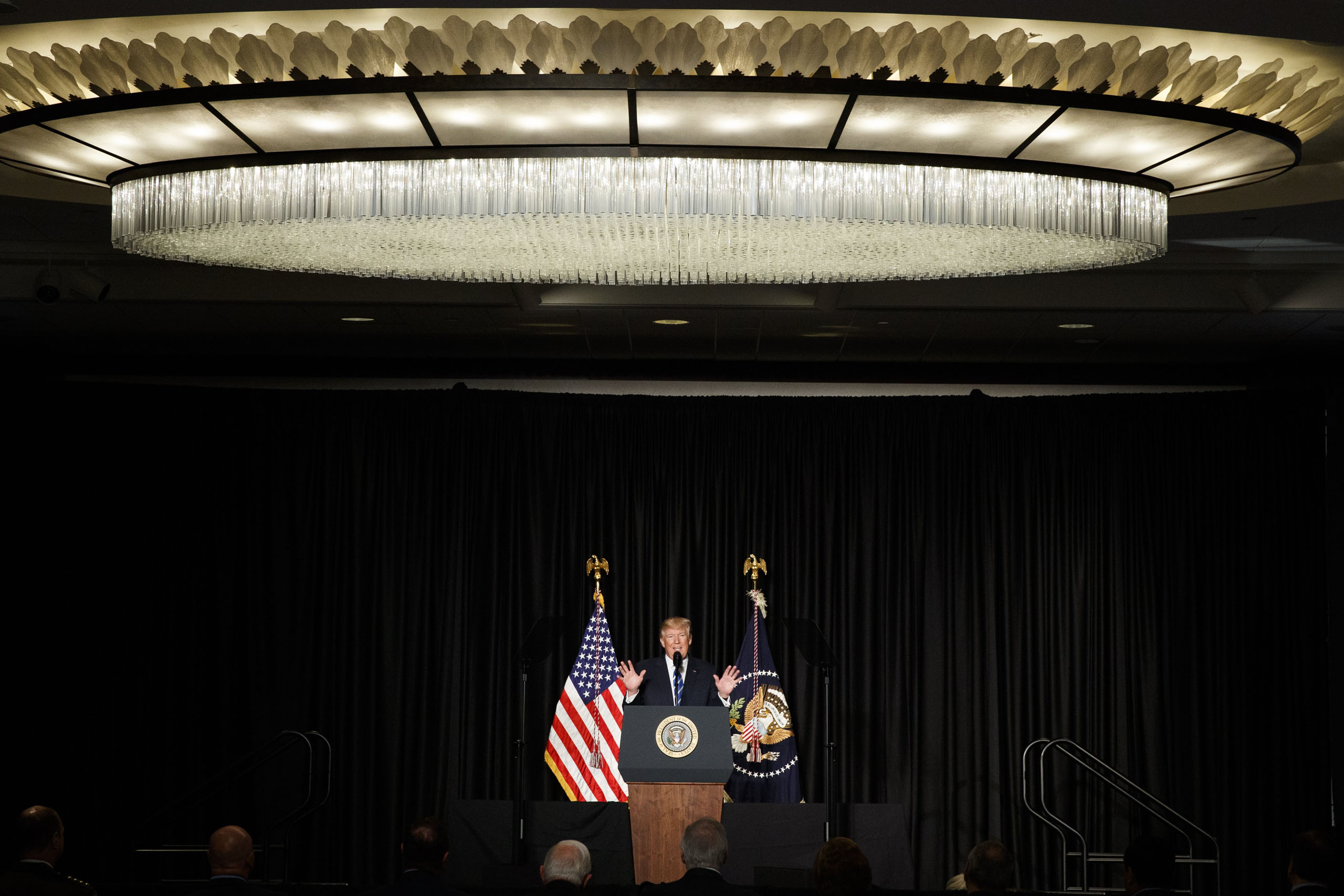 President Donald Trump speaks to the Major County Sheriffs' Association and Major Cities Chiefs Association in Washington, on Feb. 8, 2017.
