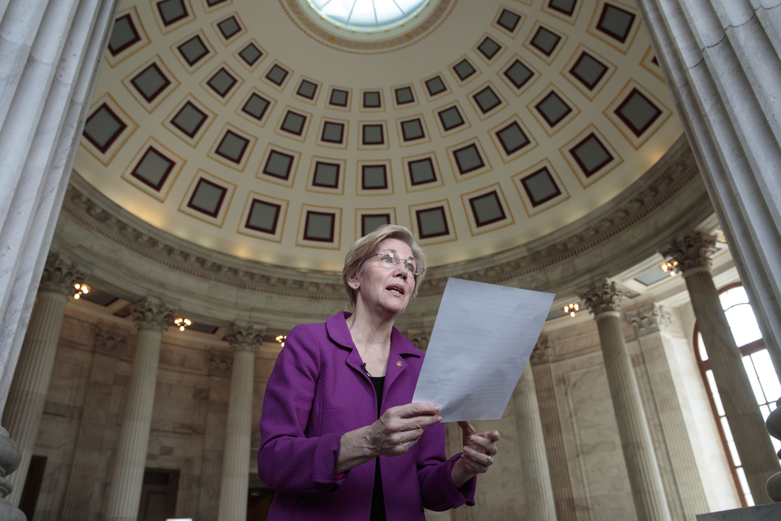Holding a transcript of her speech in the Senate Chamber, Sen. Elizabeth Warren reacts to being rebuked by the Senate leadership and accused of impugning a fellow senator, Attorney General-designate, Sen. Jeff Sessions, R-Ala., on Feb. 8, 2017. Warren was barred from saying anything more on the Senate floor about Sessions after she quoted from an old letter from Martin Luther King Jr.'s widow about Sessions.