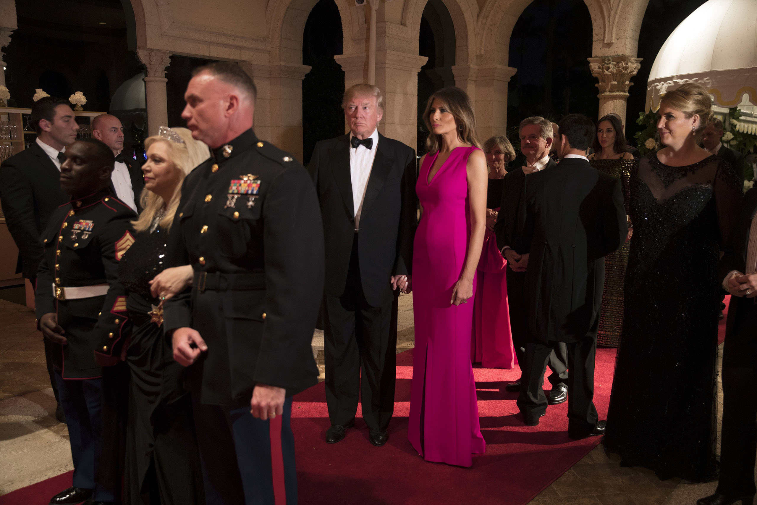 President Donald Trump and first lady Melania Trump arrive for a gala for the American Red Cross, in the ballroom of Mar-a-Lago, in Palm Beach, on Feb. 4, 2017.