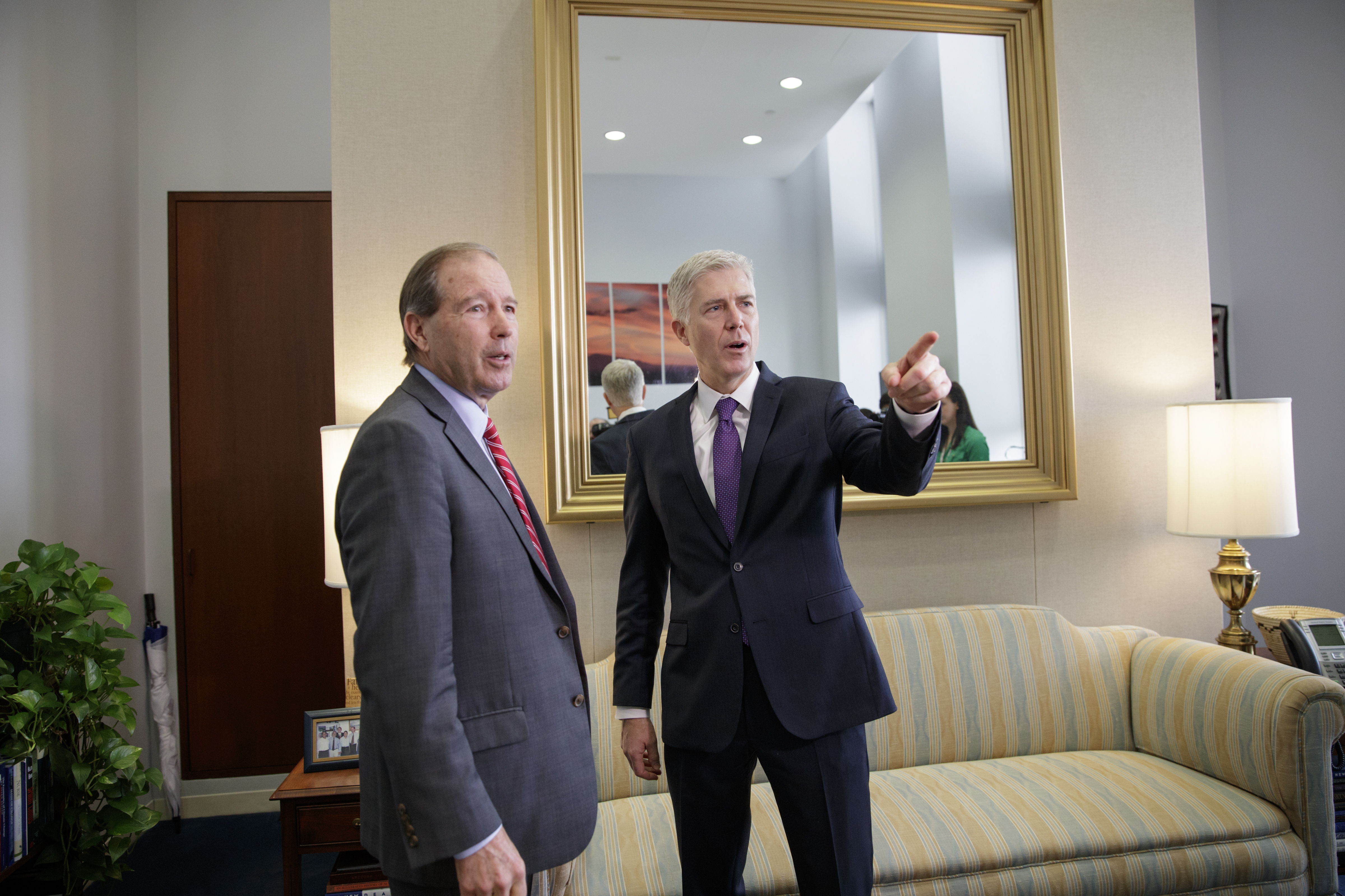 Supreme Court Justice nominee Judge Neil Gorsuch, right, meets with Sen. Tom Udall, D-N.M. on Capitol Hill in Washington, Feb. 27, 2017.