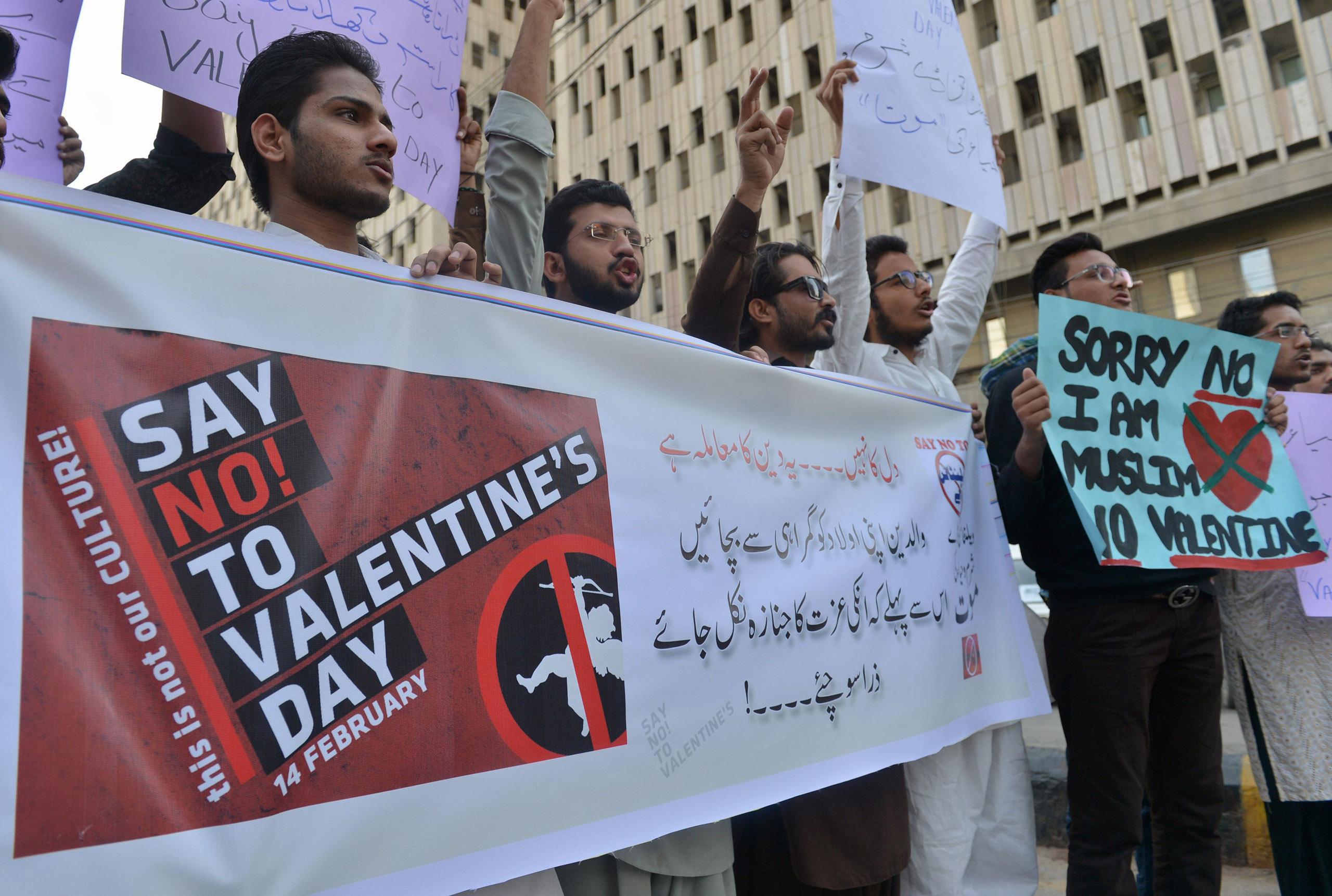 Pakistani men protest against Valentine's Day celebrations in Karachi on Feb. 12, 2017.