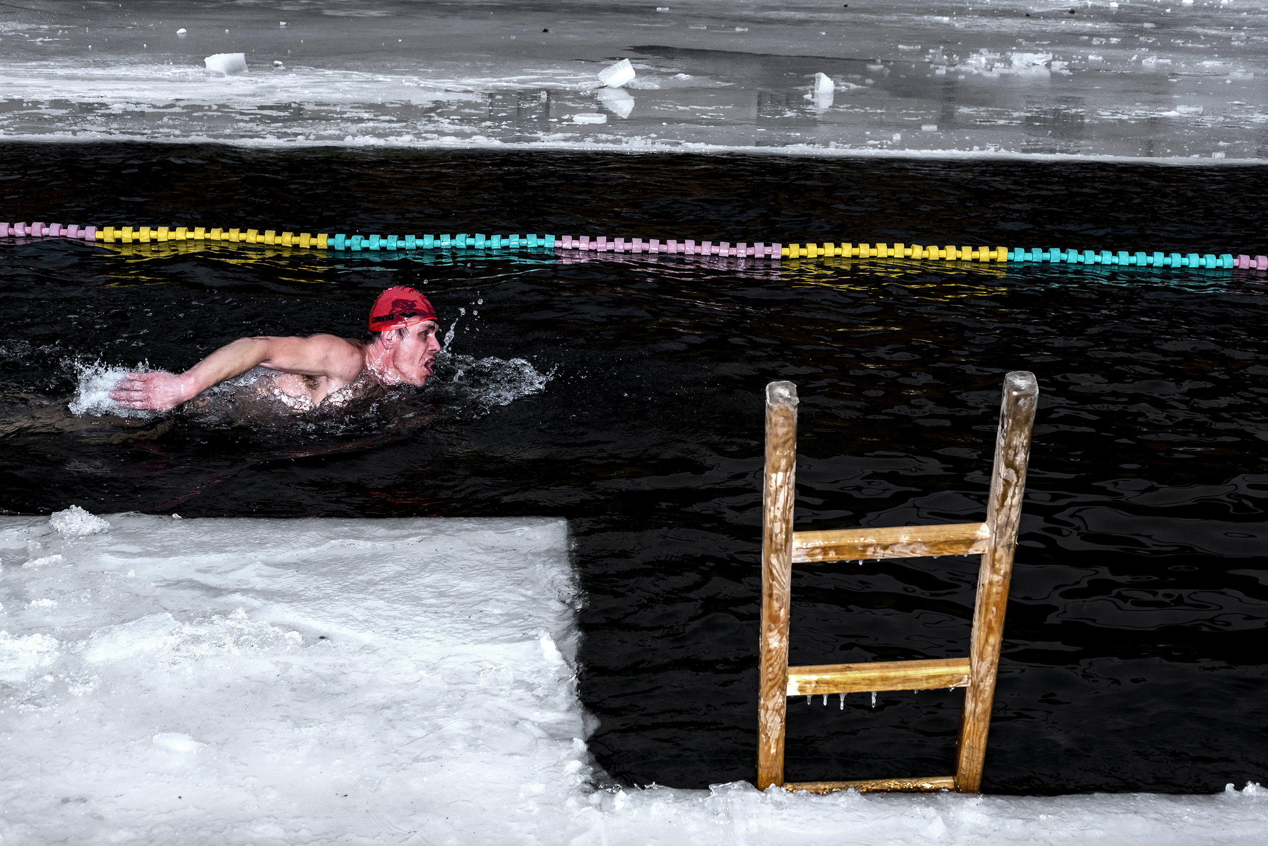 A cold water swimmer in the Orlice River, in the Czech Republic, on Jan. 28 2017.