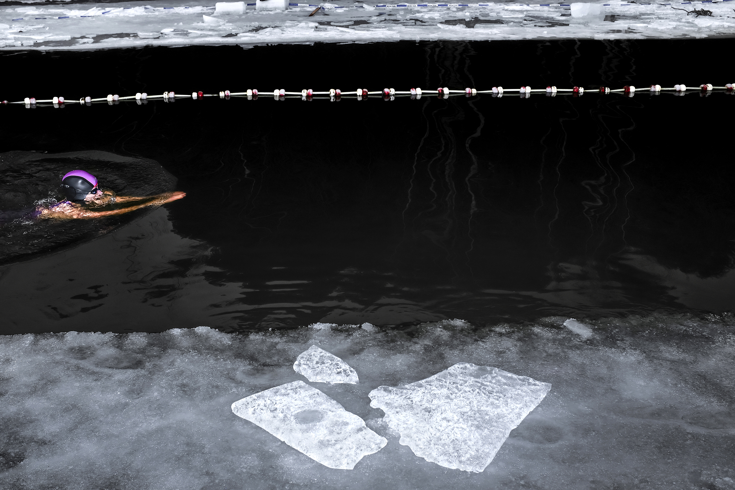 A small pool was cut into 20cm of ice in Sázava, in the Czech Republic, on Feb. 18 2017.