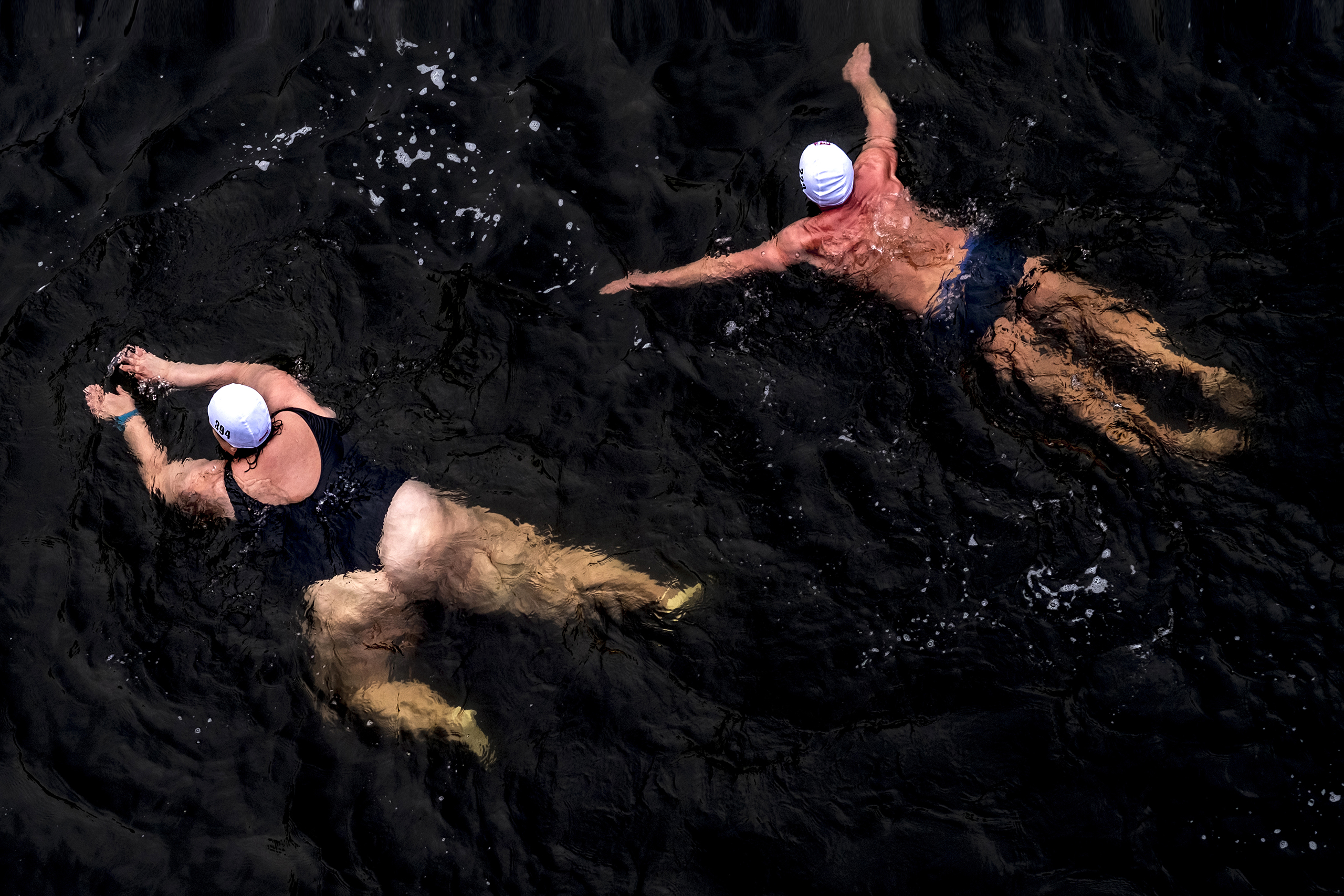 Hundreds of cold water swimmers participate in a Boxing Day swim in the Vltava River in Prague on Dec. 26 2016.