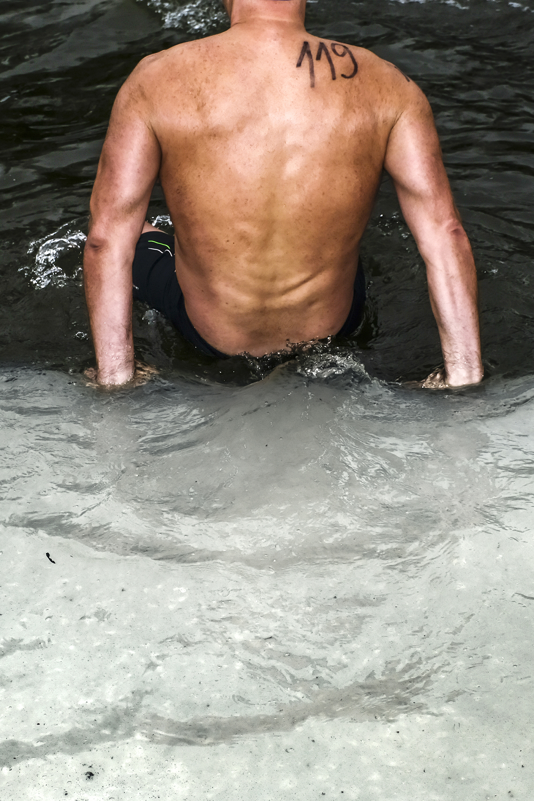 A swimmer in a small pond in Sázava, in the Czech Republic, on Feb. 18 2017.