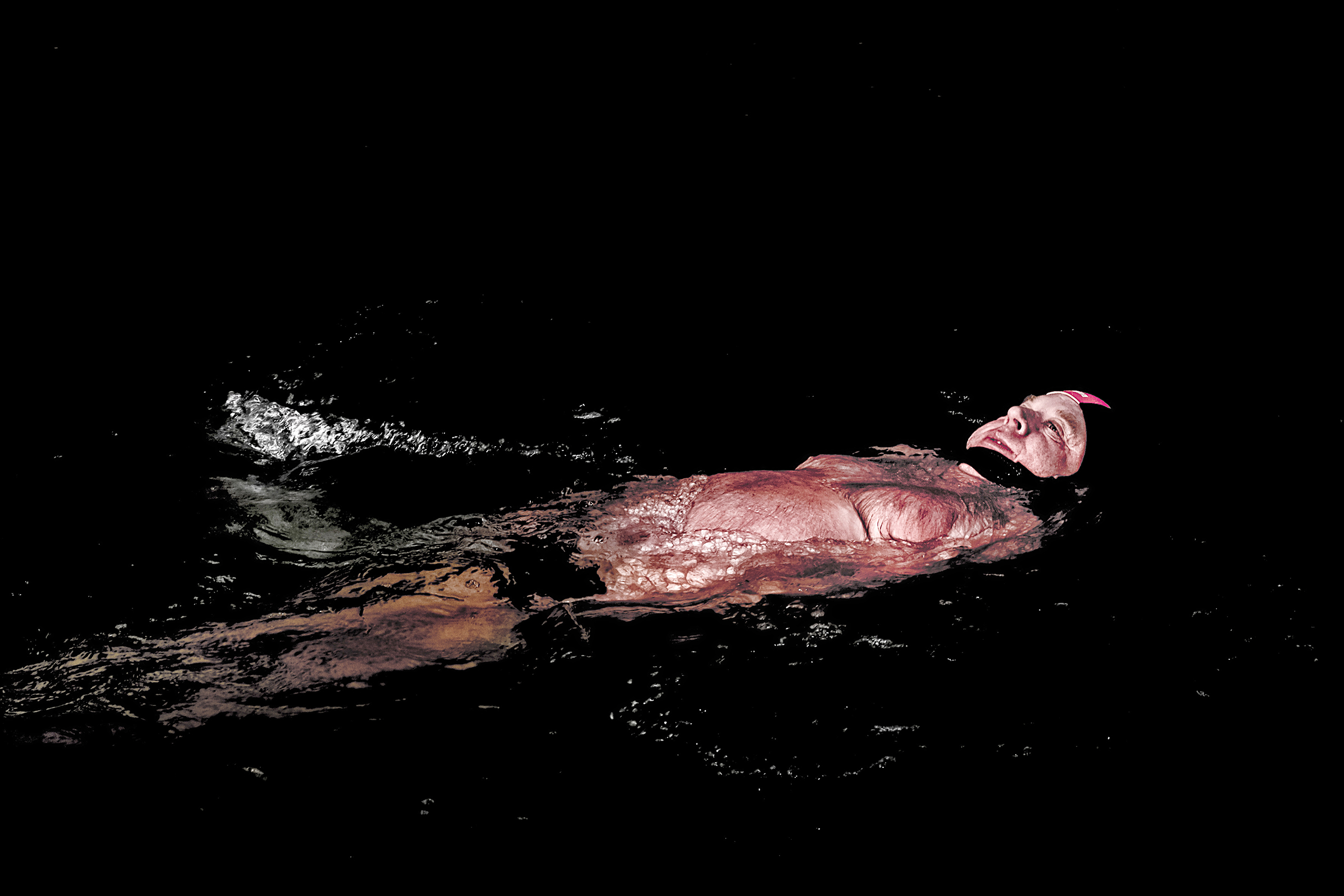 Backstroke is often more comfortable for some cold water swimmers. This one is pictured in the Orlice River on Dec. 10 2016.