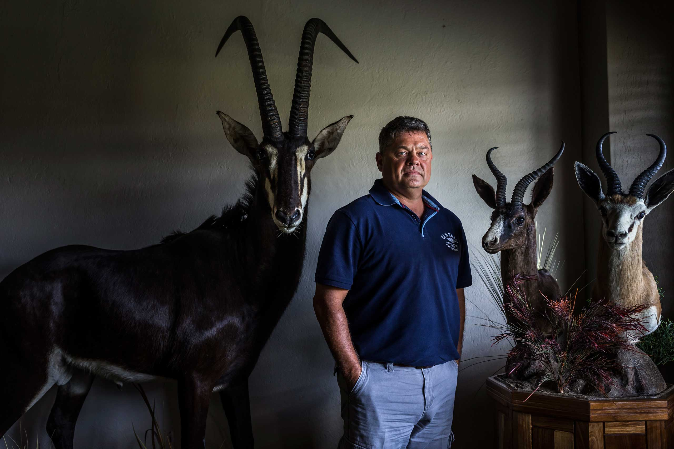 Dawie Groenewalt, South Africa's alleged Rhino horn kingpin and the subject of a six-year-old court case involving multiple charges related to illegal Rhino horn theft and money laundering amongst other charges. He is seen on his game farm in Polokwane where he breeds high-end game for sale and hunting purposes.