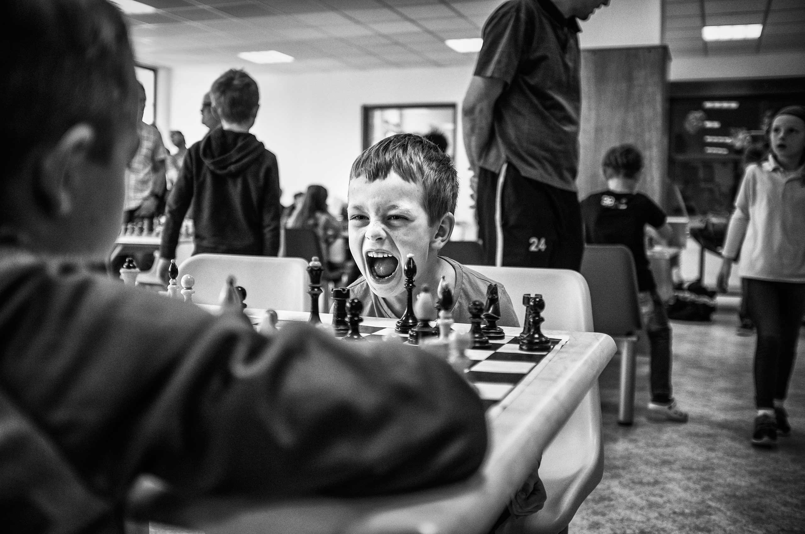 The chess player expresses his emotions during a game of chess.
