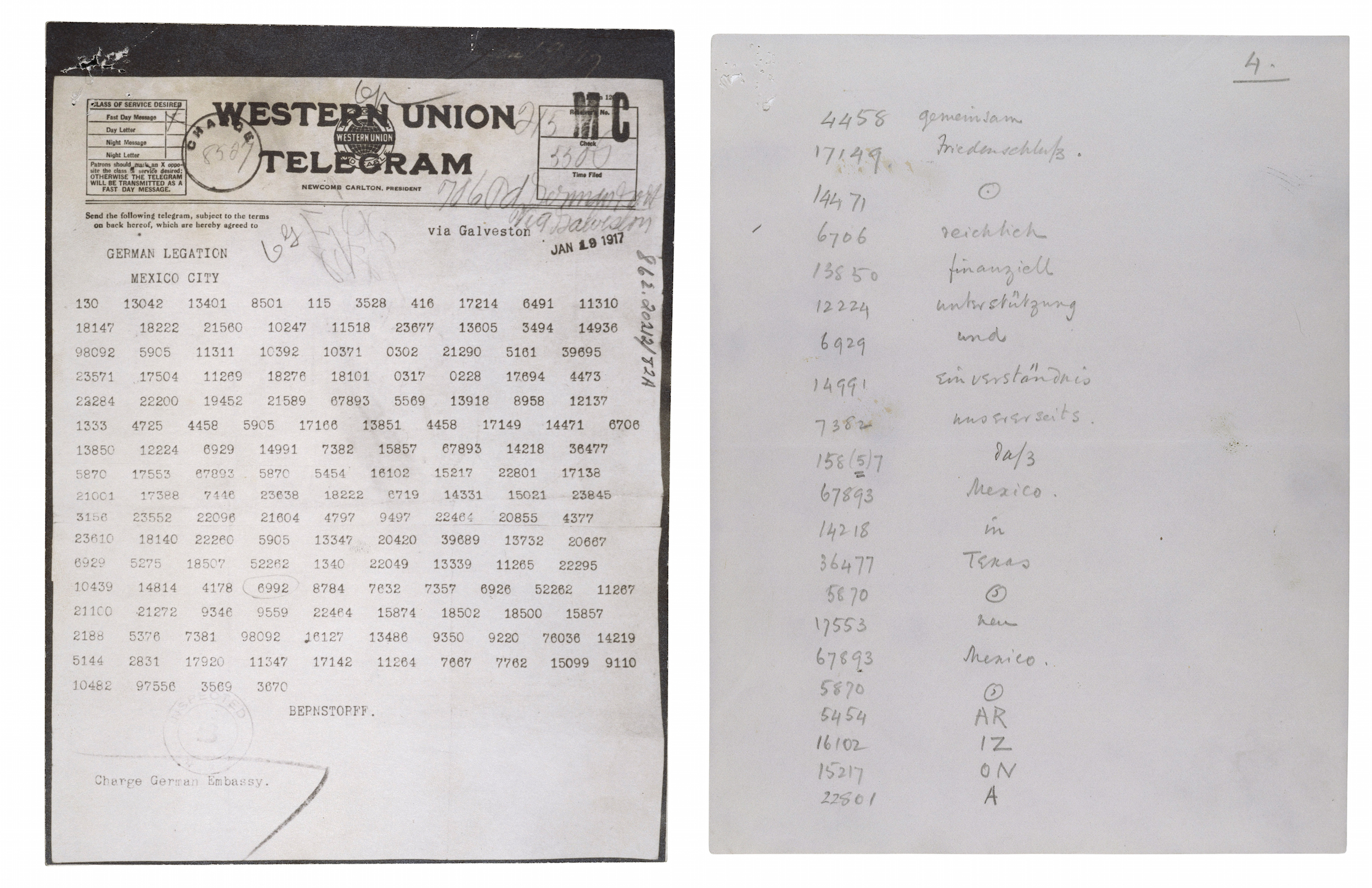 Zimmermann Telegram Decimal File, left, and decoded Zimmermann Telegram, 1917.