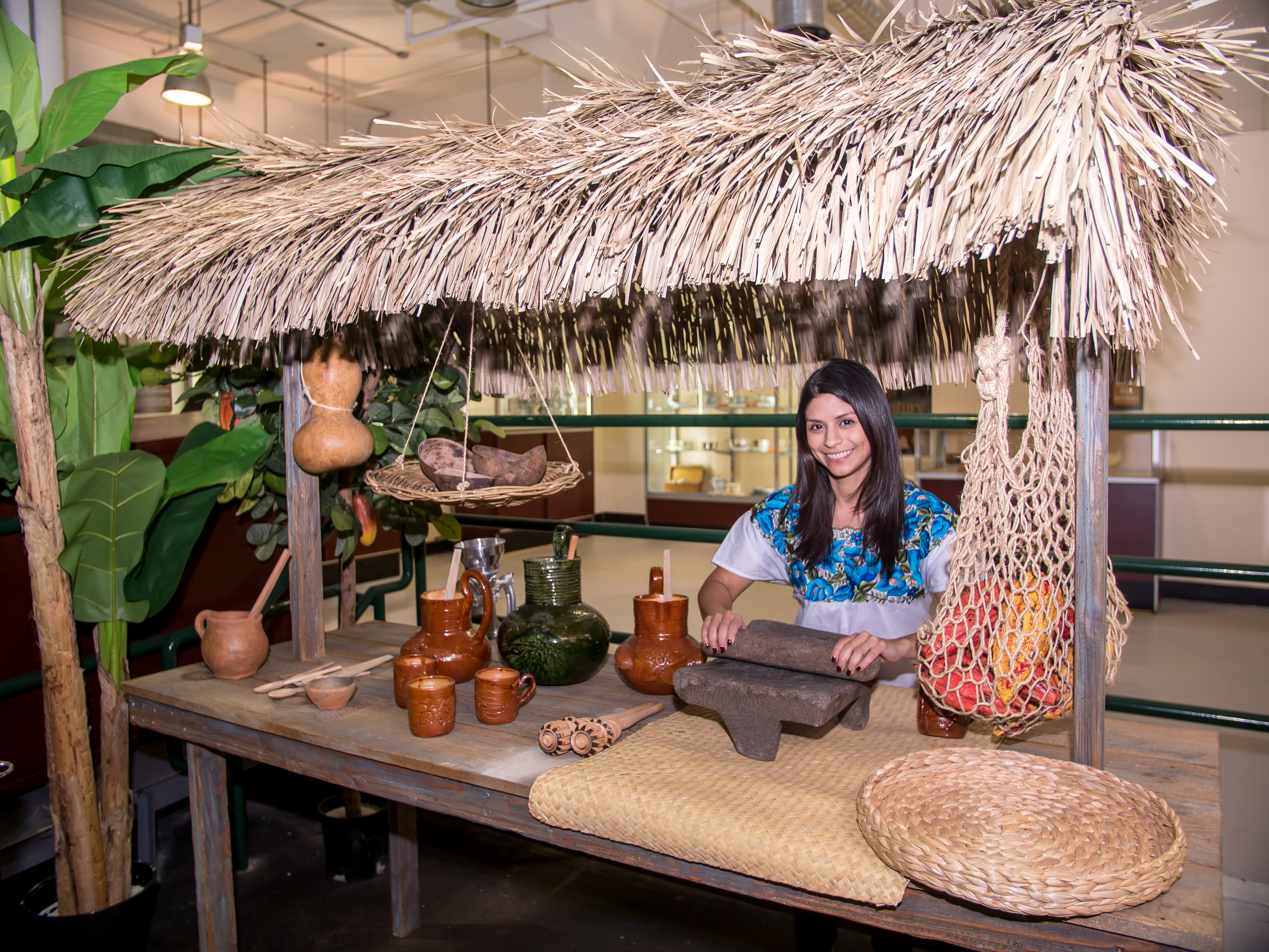 The museum includes a booth for making Mayan hot chocolate in traditional style.