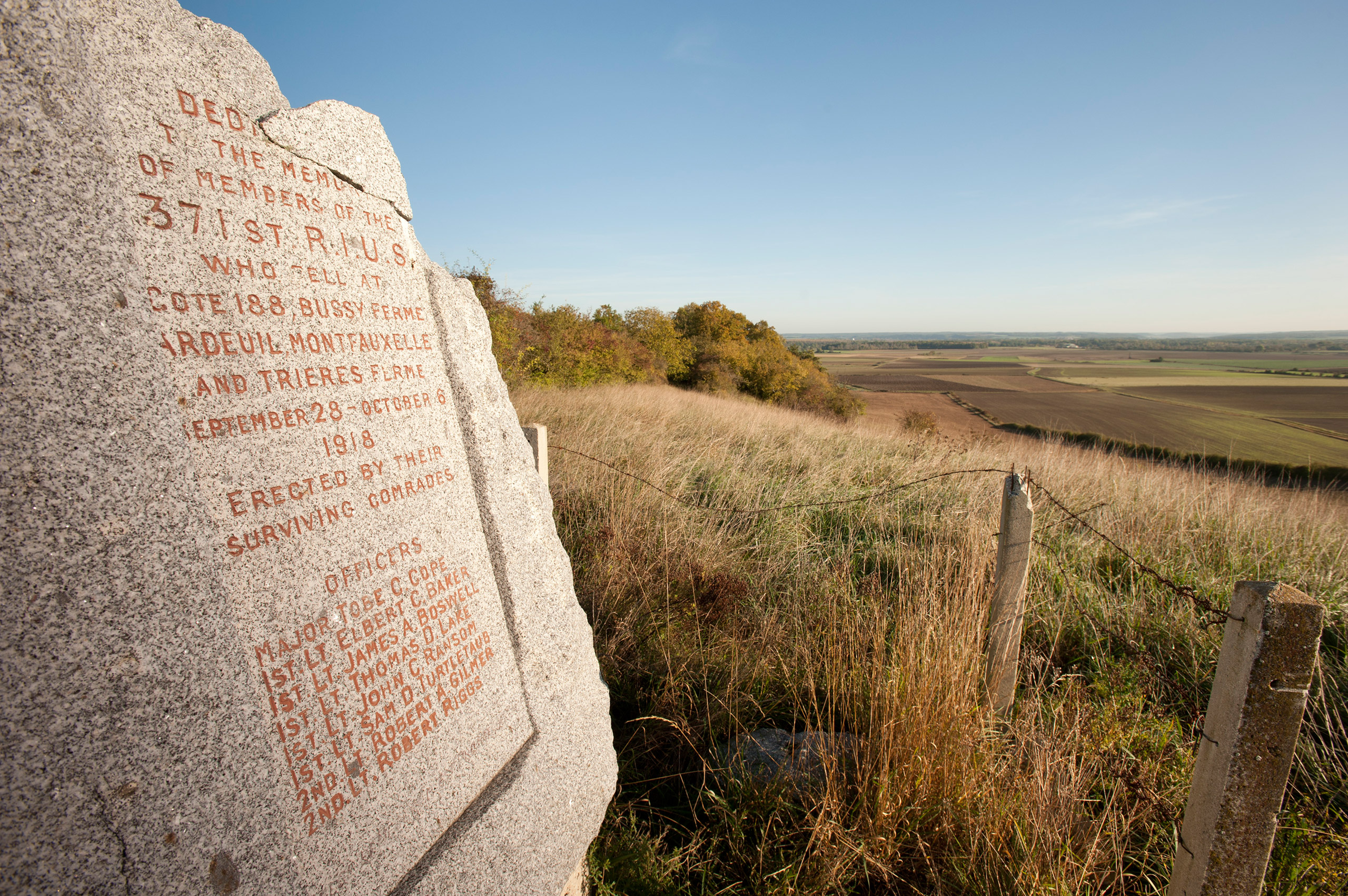 American 371RI Memorial above Bussy Farm. where Cpl. Freddie Stowers won MoH 371 Inf 93 Div. Sept. 28, 1918.