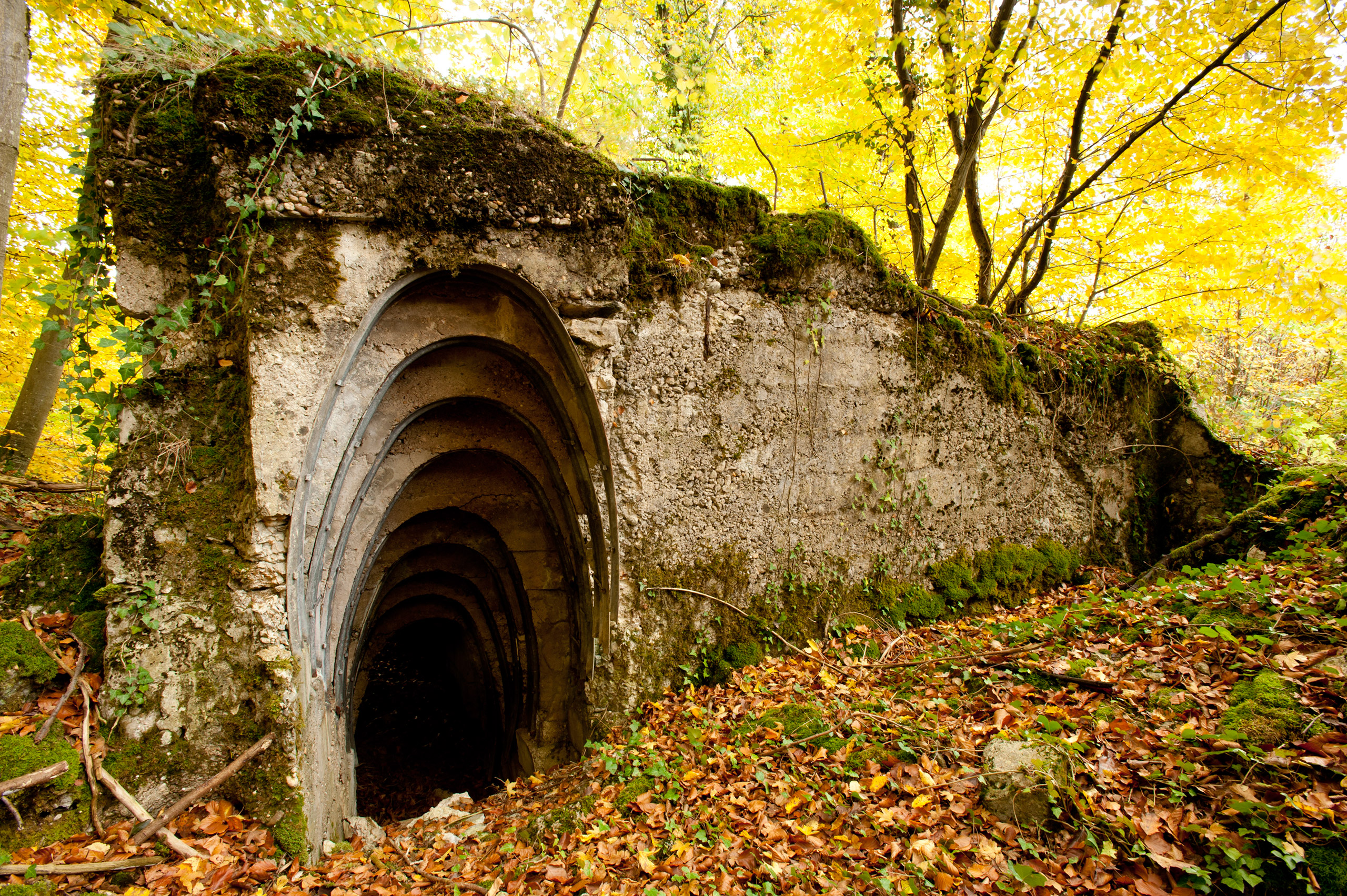 German gun position dugout near Woinville made of cast concrete in the U.S. sector of the St. Mihiel battle.