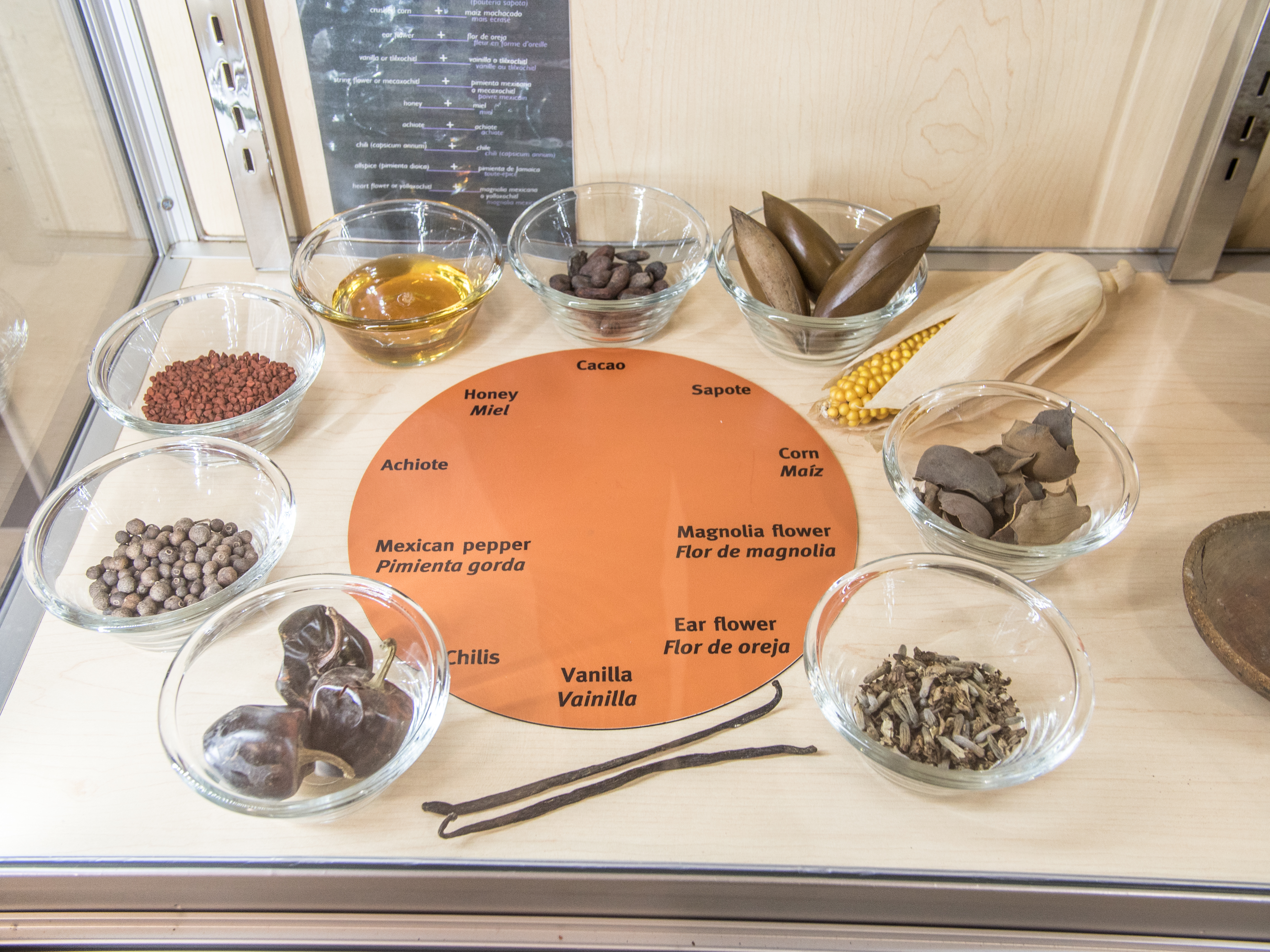 Various ingredients traditionally used for flavoring chocolate.