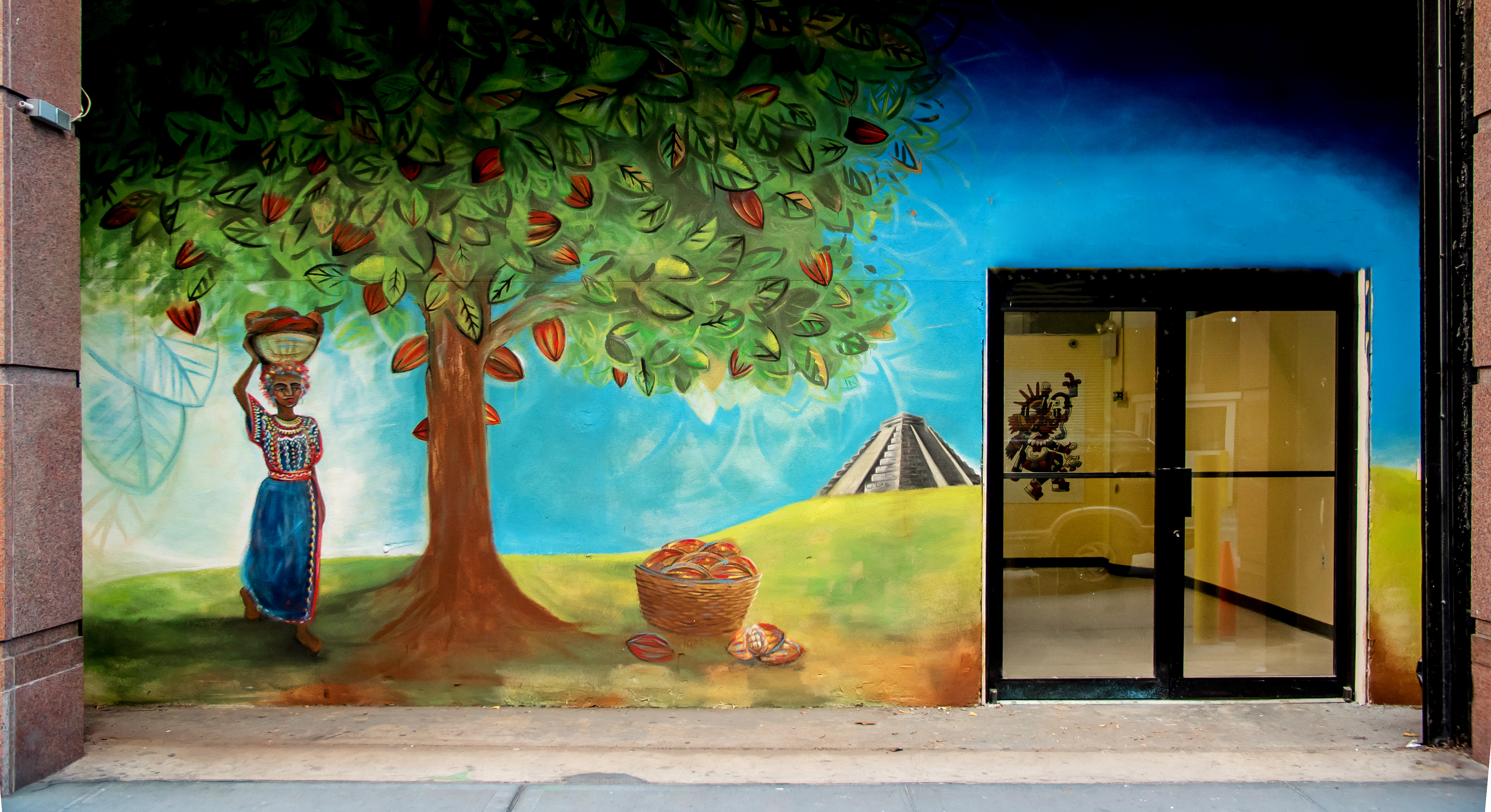 They museum commissioned a local Brooklyn artist to paint this outdoor mural, based on the Yucatan.