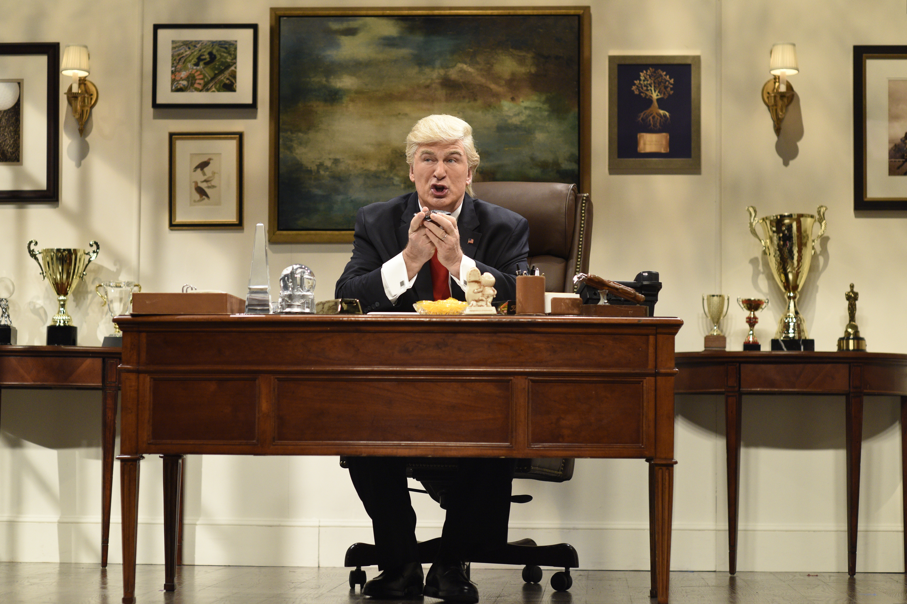 Alec Baldwin plays  Donald Trump during the Saturday Night Live cold open sketch in New York City, November 19, 2016