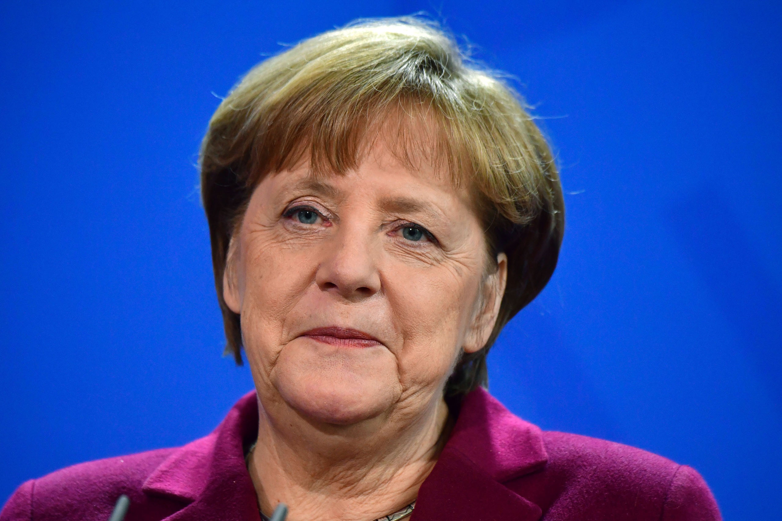 German Chancellor Angela Merkel attends a press conference with her Serbian counterpart on March 14, 2017 at the chancellery in Berlin.