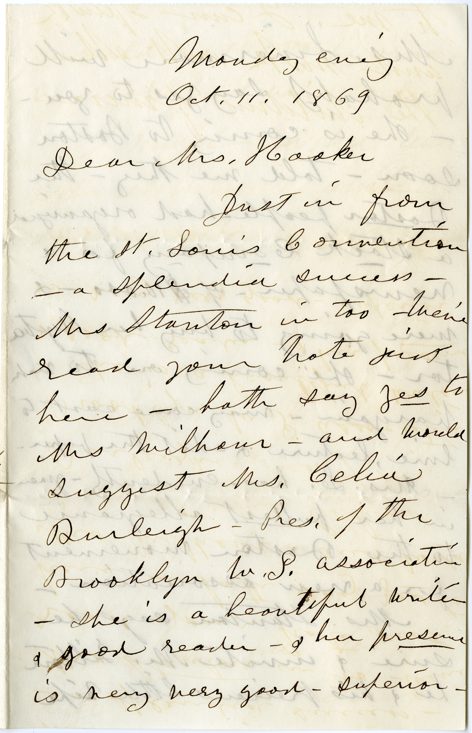 The 1st page of a letter from Susan B. Anthony to Isabella Beecher Hooker