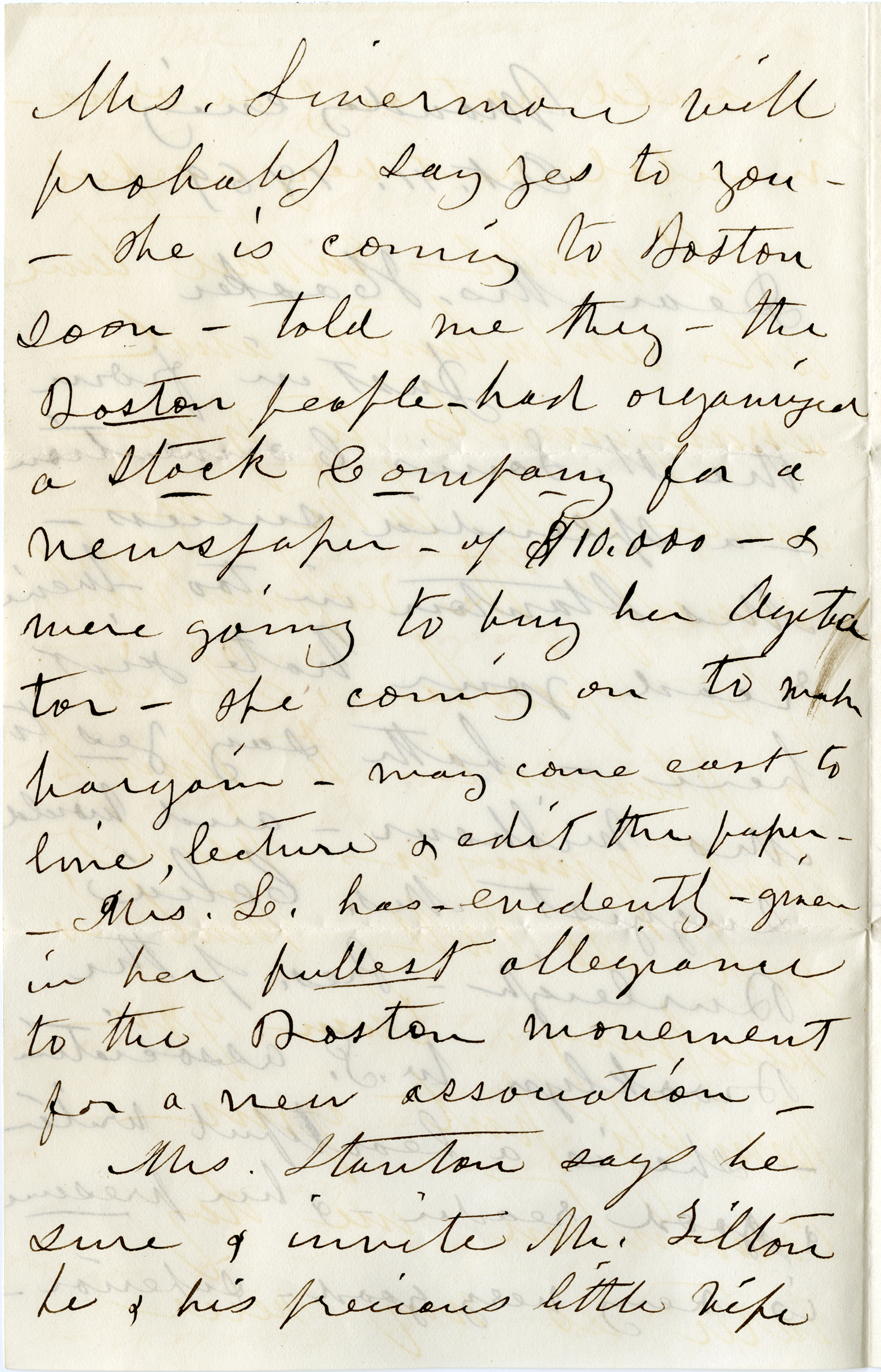 The 2nd page of a letter from Susan B. Anthony to Isabella Beecher Hooker