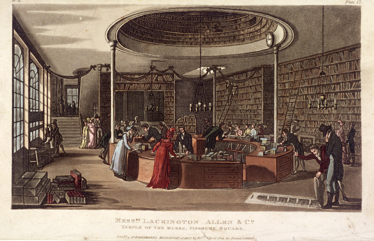 Interior view of the Temple of the Muses bookshop, Finsbury, London, 1809.