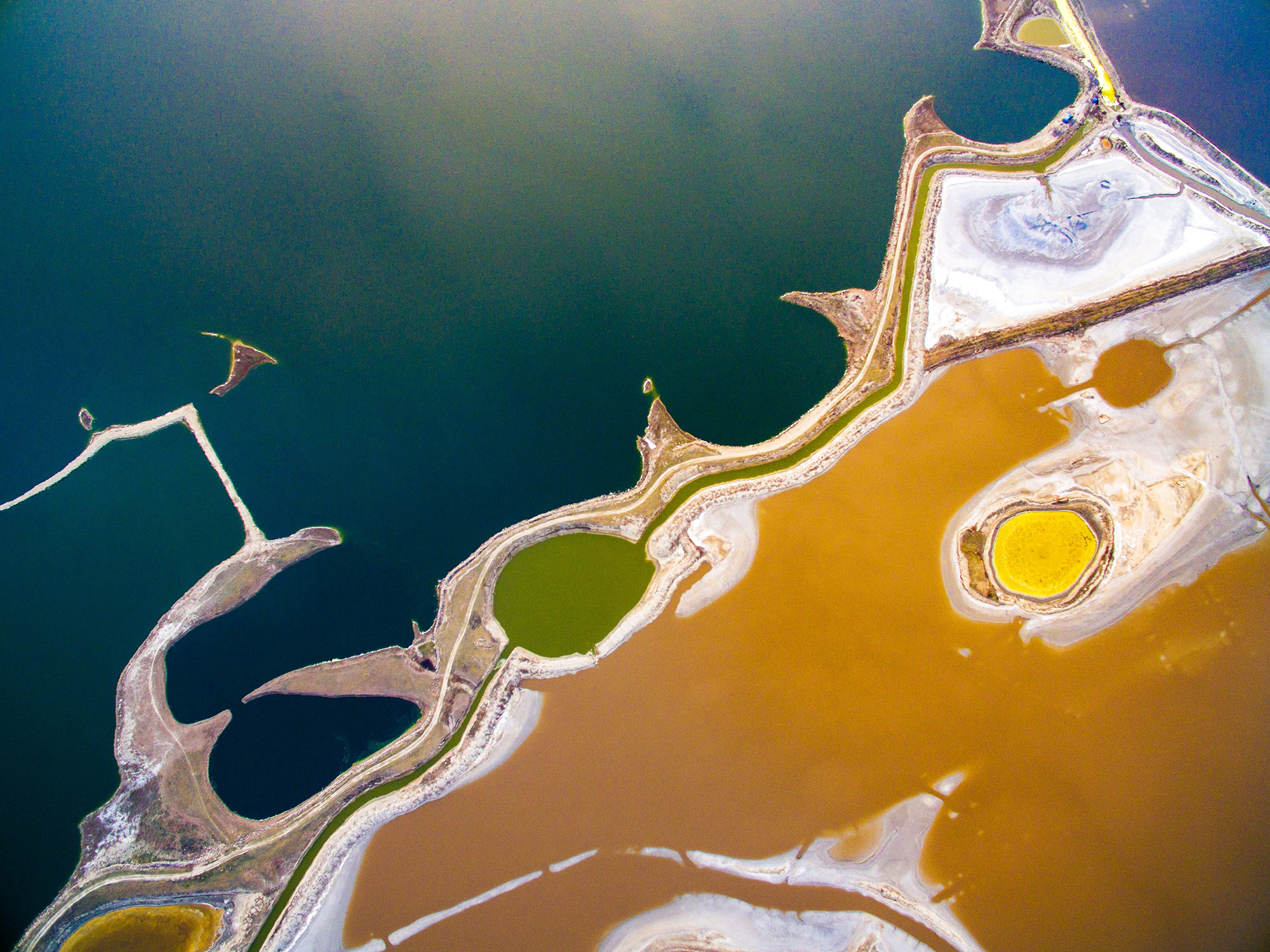 An aerial view of a world-renowned inland salt lake known as the  Dead Sea of China  in Yuncheng, Shanxi Province, on March 20, 2017.
