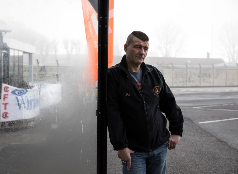 "Patrice Sinoquet, 54, Whirlpool factory worker in Amiens. One of 300 people threatened with being laid off when Whirlpool moves production to Poland in 2018. ""Since 2000 we workers have been thrown out like Kleenex,"" he says, sitting in the reception area of the factory. ""And since 2008 there have been no jobs. Here in France there is no work, no enterprises."""