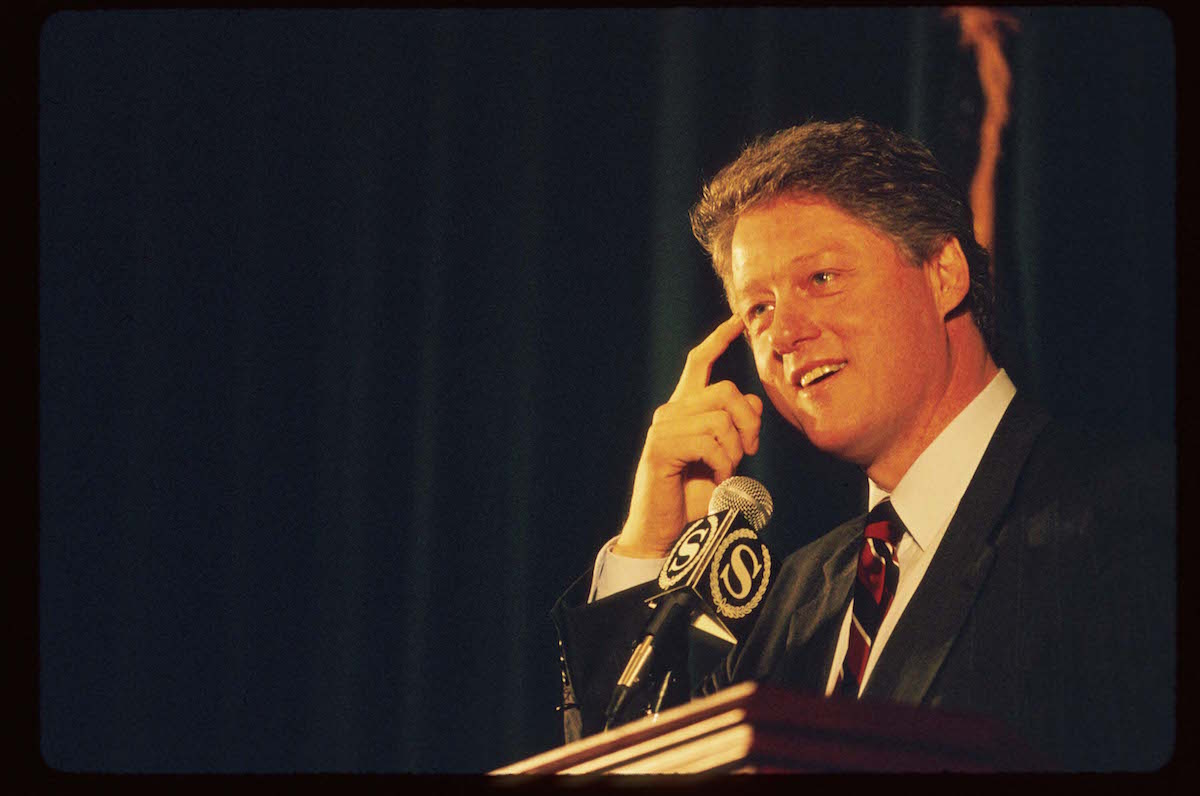 Bill Clinton speaks at a Sheraton hotel March 31, 1992 in New York City, shortly after saying that he did not inhale when he tried marijuana.
