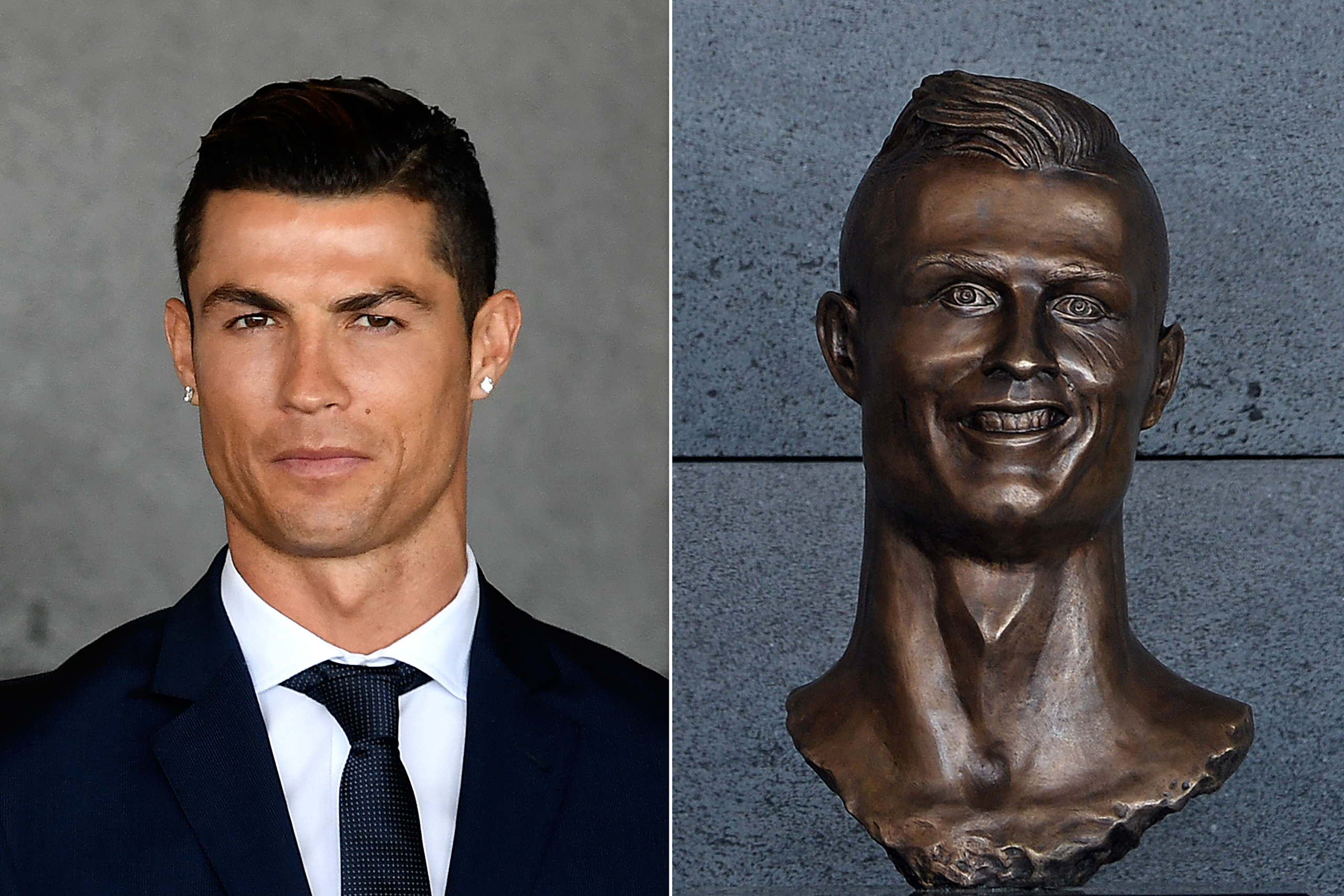 Portuguese footballer Cristiano Ronaldo stands near a bust of his likeness during a ceremony to rename Madeira's airport after him on March 29, 2017. Right: The bust that was revealed.