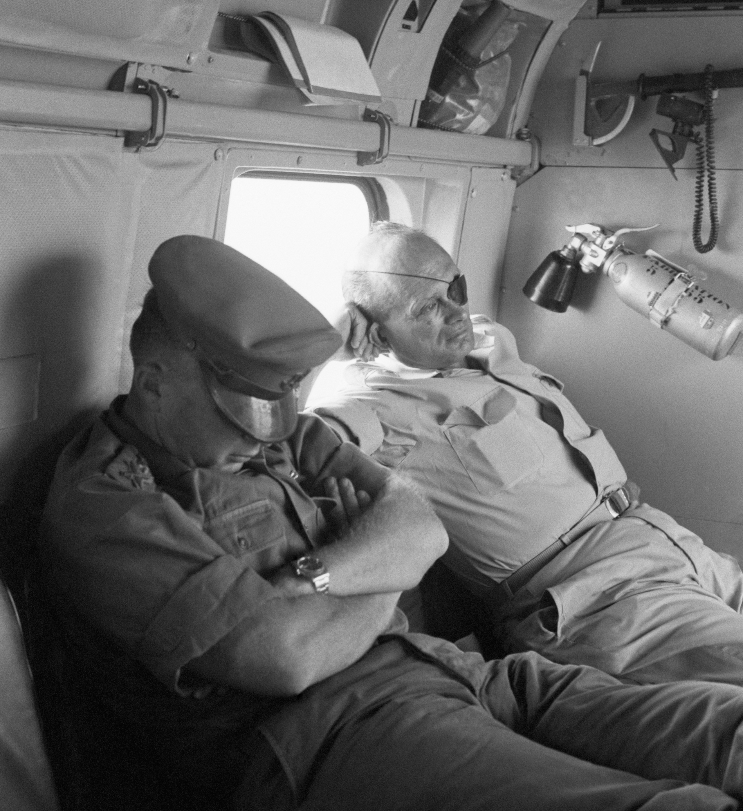Defense Minister Moshe Dayan and Chief of Staff Yitzhak Rabin fly back from the battlefield on the day after the Six-Day War, 1967.