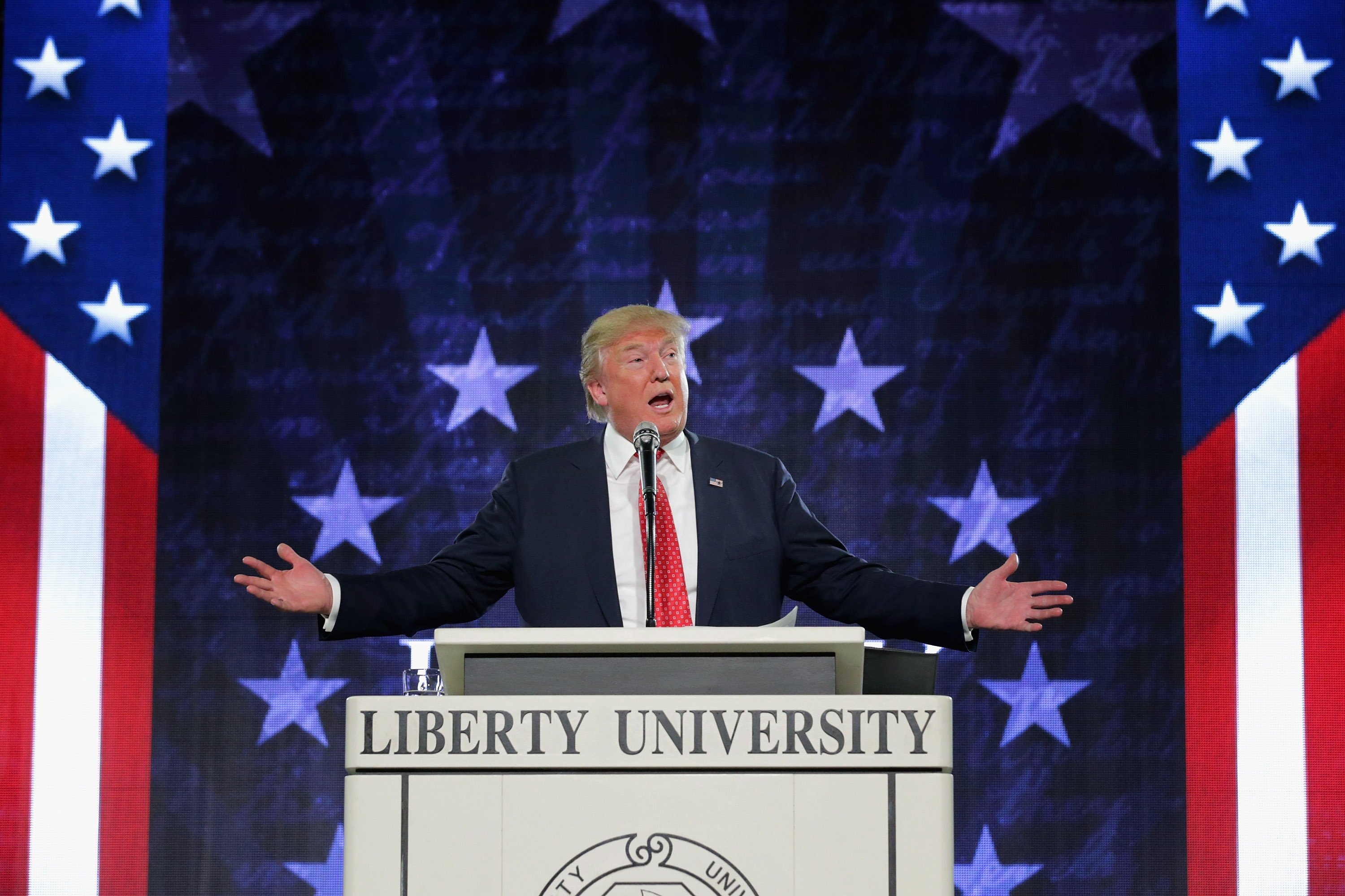 Republican presidential candidate Donald Trump delivers the convocation at the Vines Center on the campus of Liberty University on Jan. 18, 2016 in Lynchburg, Virginia.