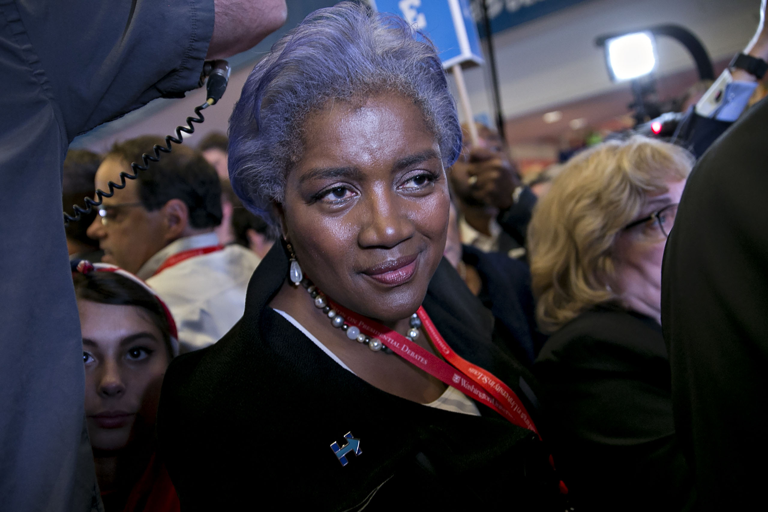 Donna Brazile, vice chair of the Democratic National Committee (DNC), walks through the spin room after the second U.S. presidential debate at Washington University in St. Louis, Missouri, U.S., on Oct. 9, 2016.