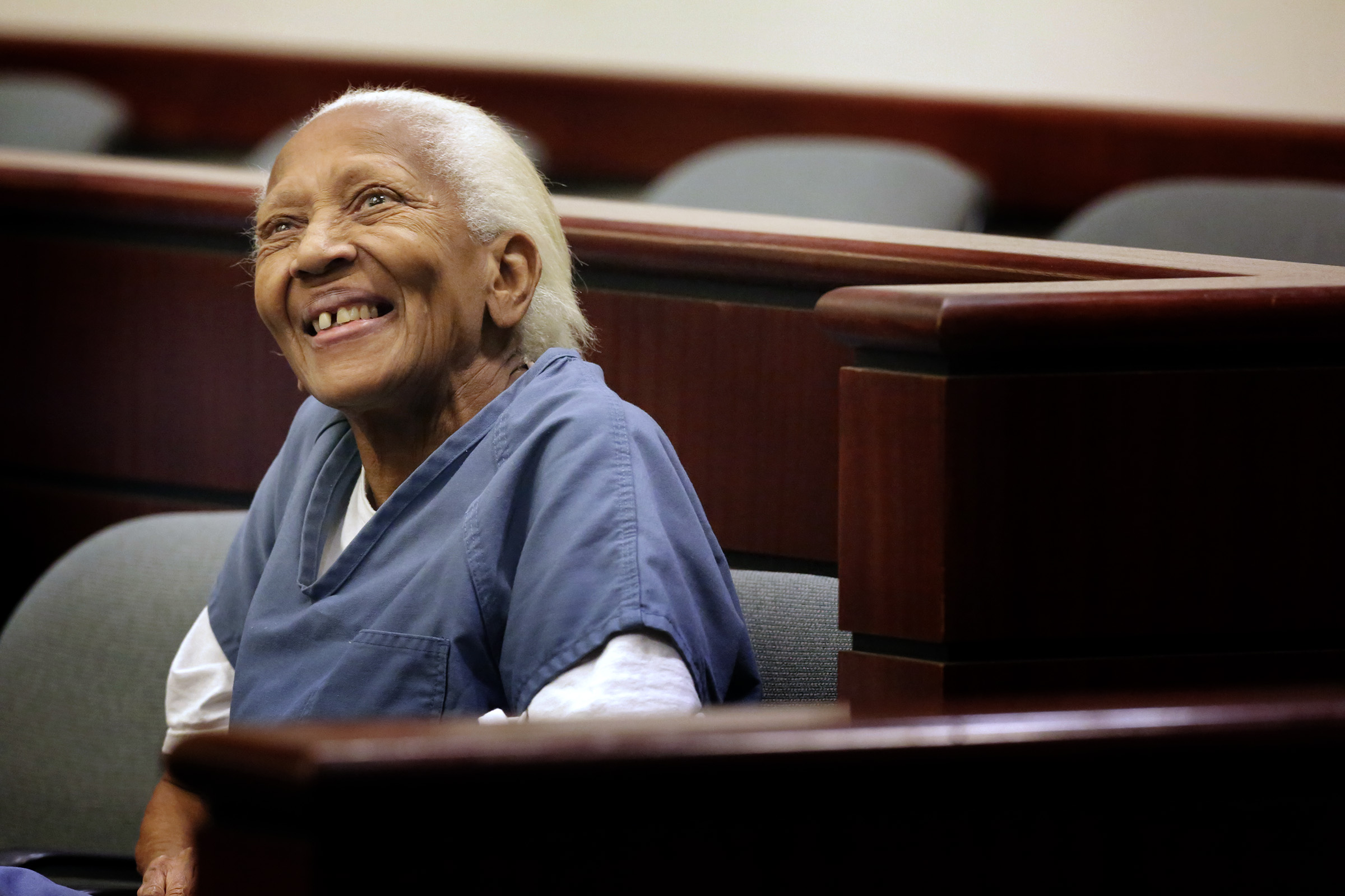 Doris Marie Payne, 83, at flanked by defense attorneys Gretchen Christina von Helms and Guadalupe Valencia at arraignment in Indio court on November, 05, 2013.