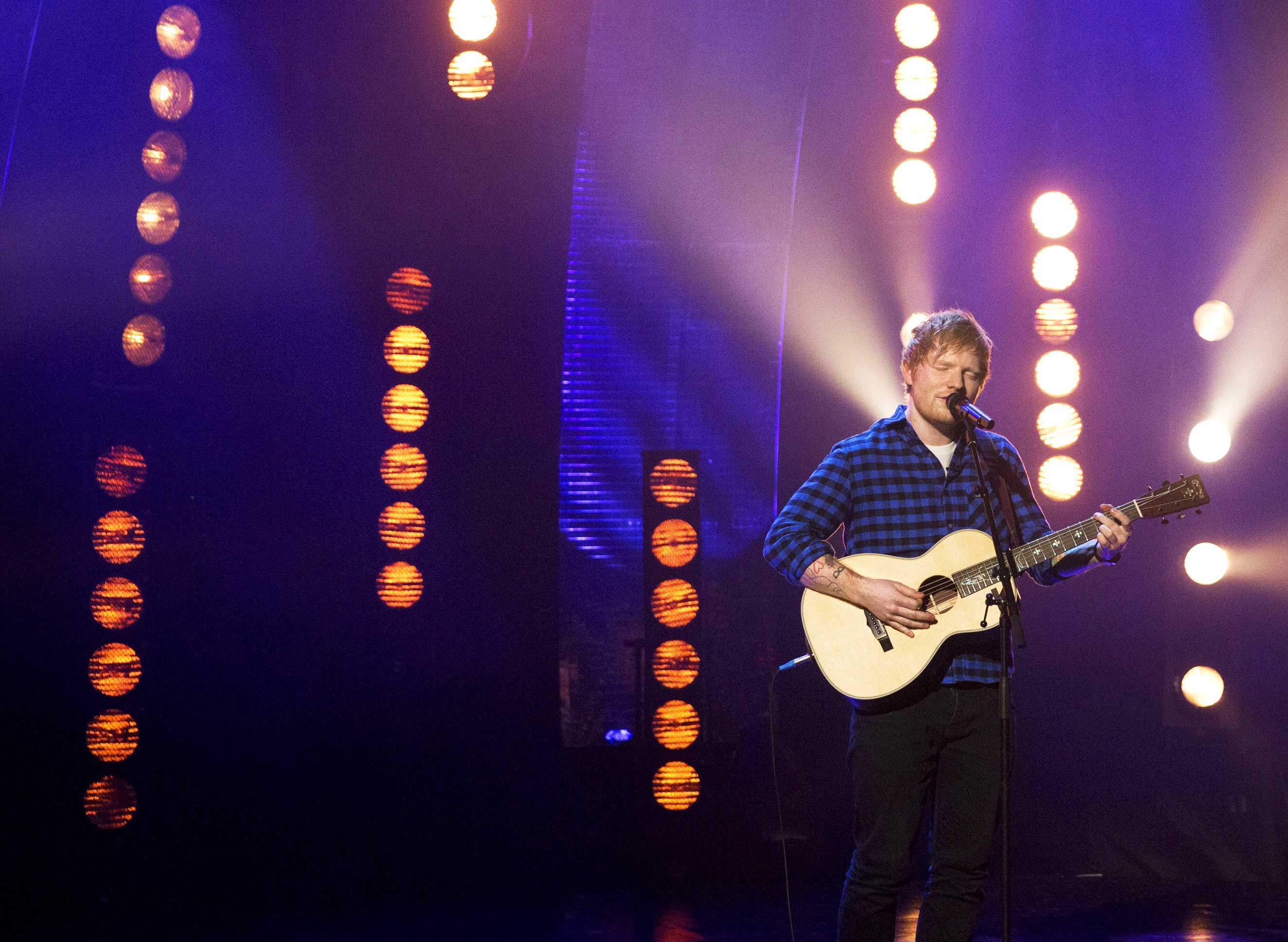 Ed Sheeran performs during the filming of the Graham Norton Show at The London Studios, South London on Thursday January 19, 2017.