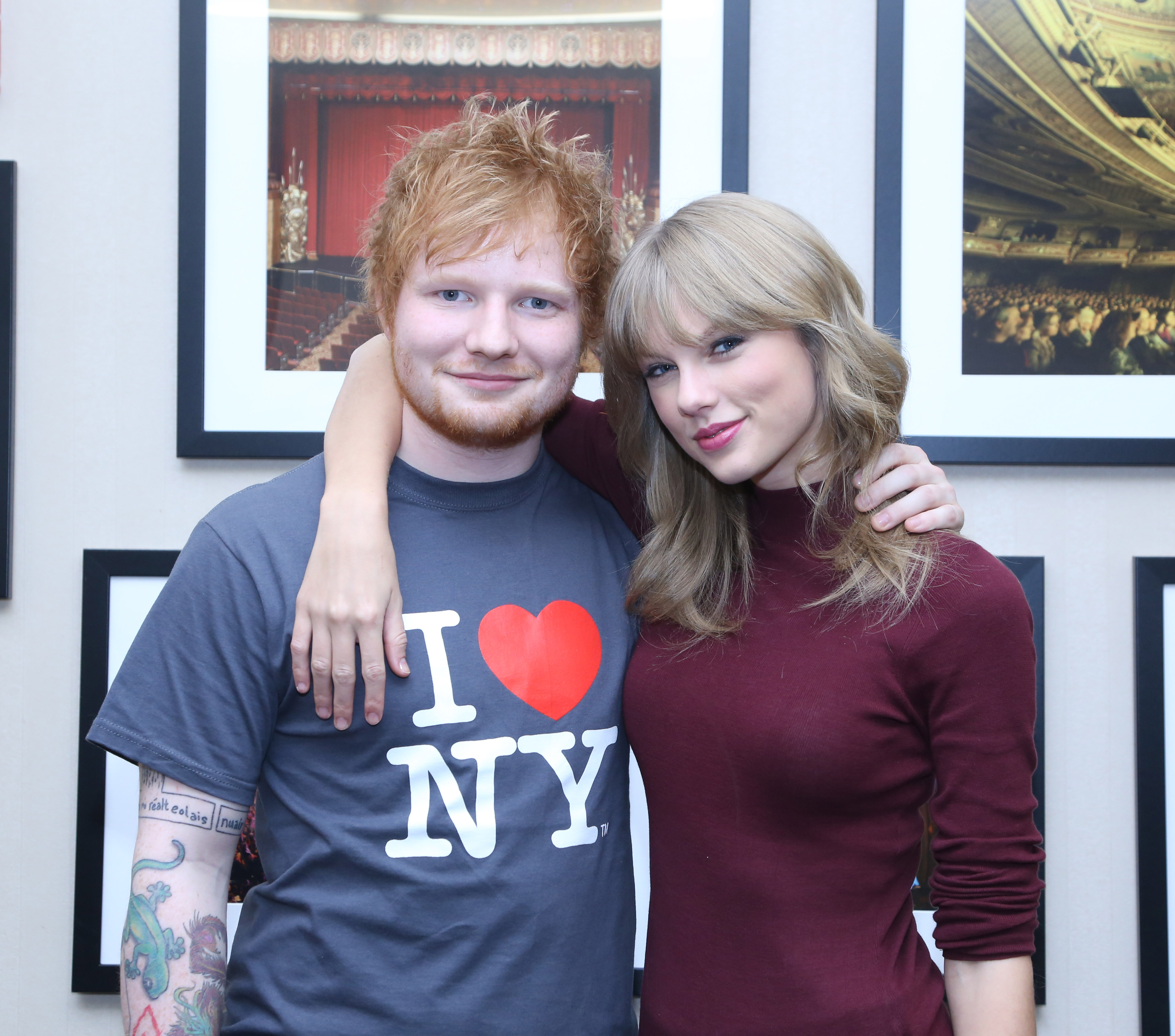 Ed Sheeran poses with Taylor Swift backstage before his sold-out show at Madison Square Garden Arena on November 1, 2013 in New York City.