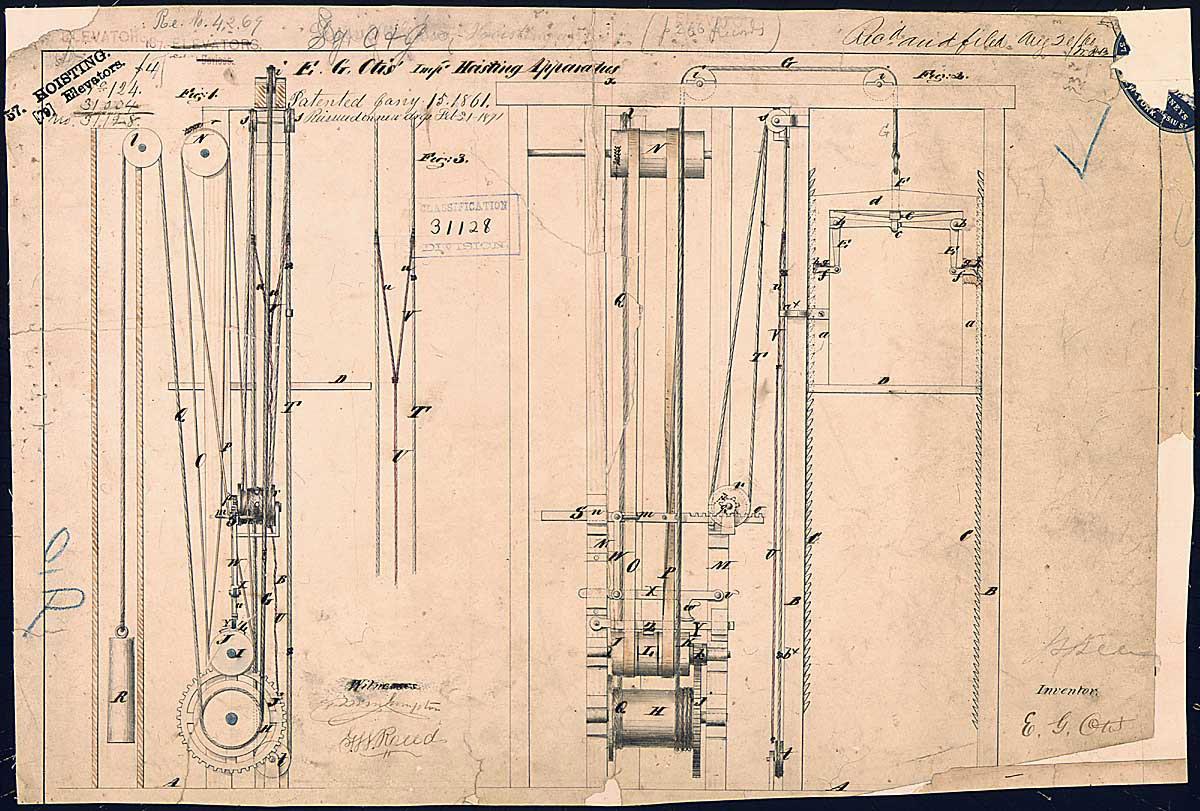 Elisha Otis's elevator patent drawing, 1861.